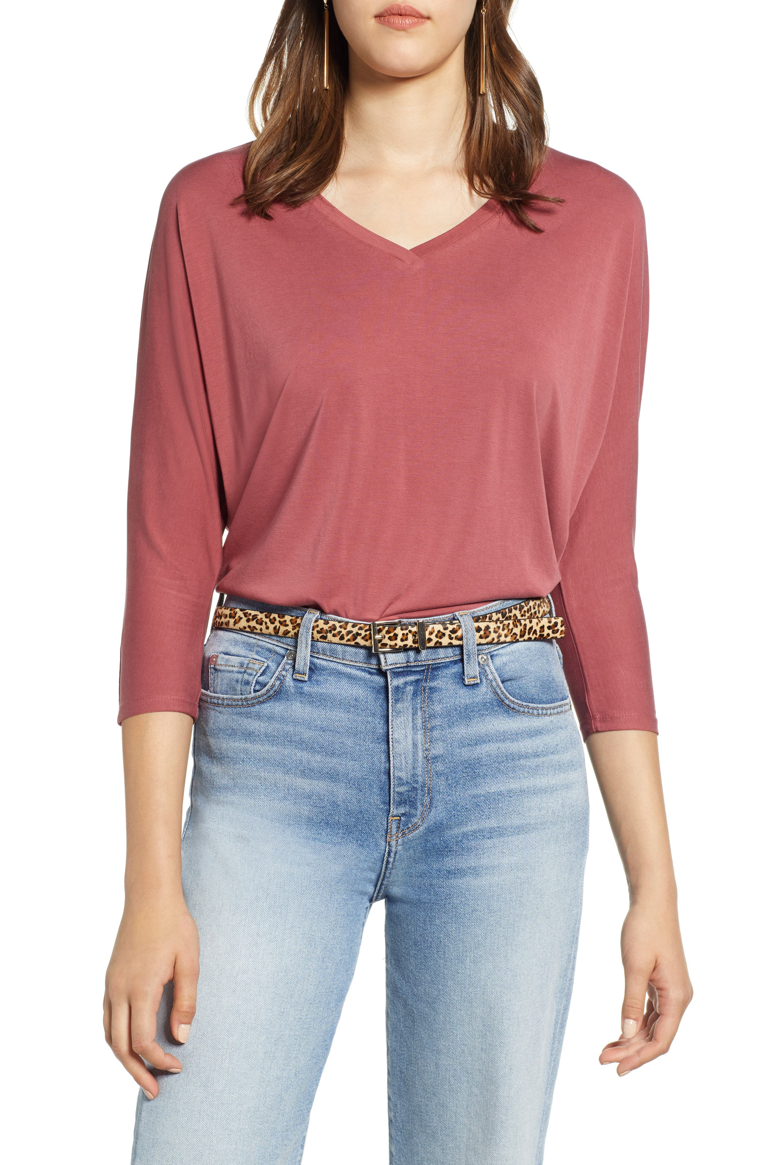 Halogen Relaxed V-Neck Top,                         Main,                         color, WINE