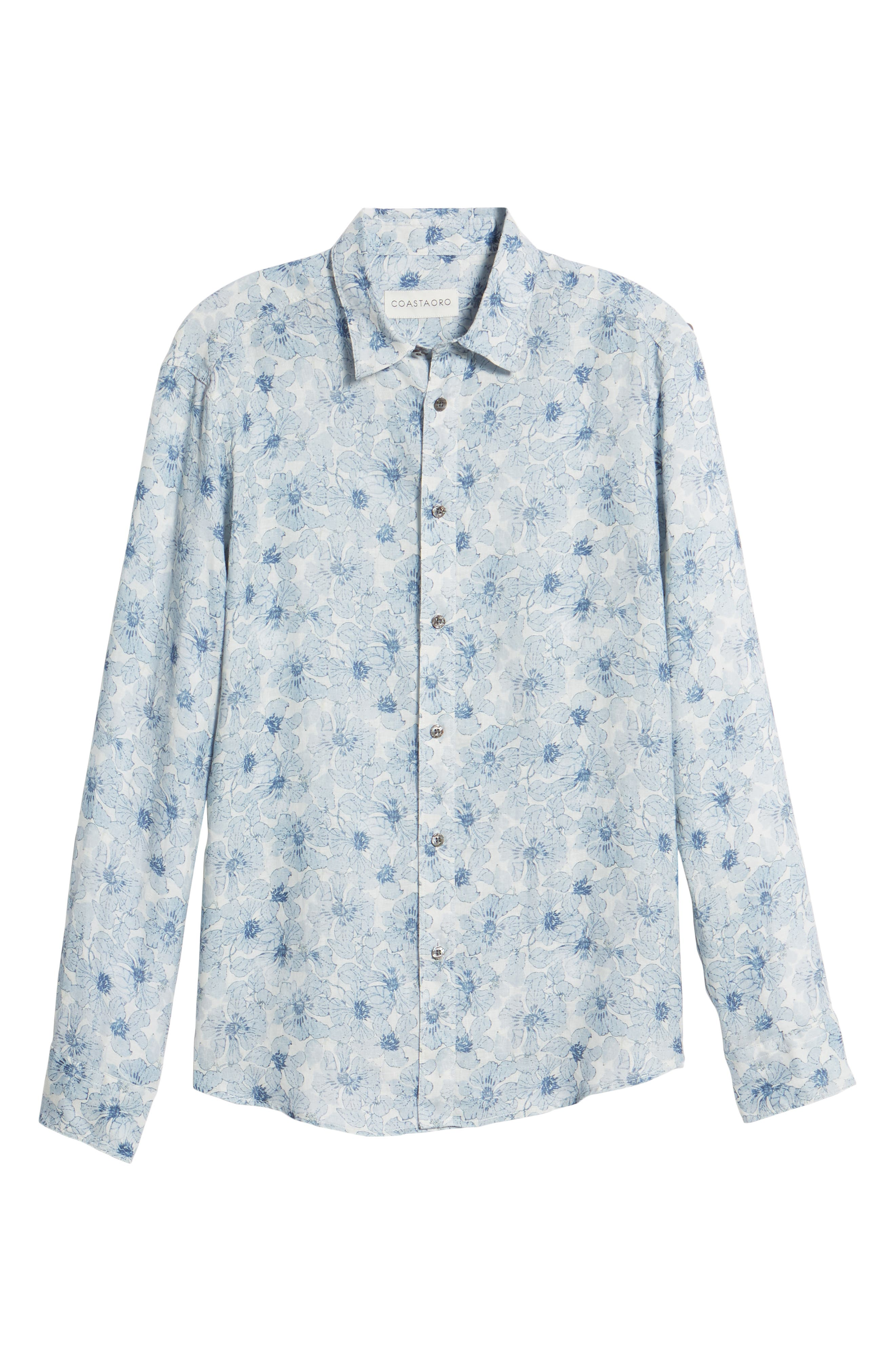 Tavton Regular Fit Floral Linen Sport Shirt,                             Alternate thumbnail 6, color,                             SKY