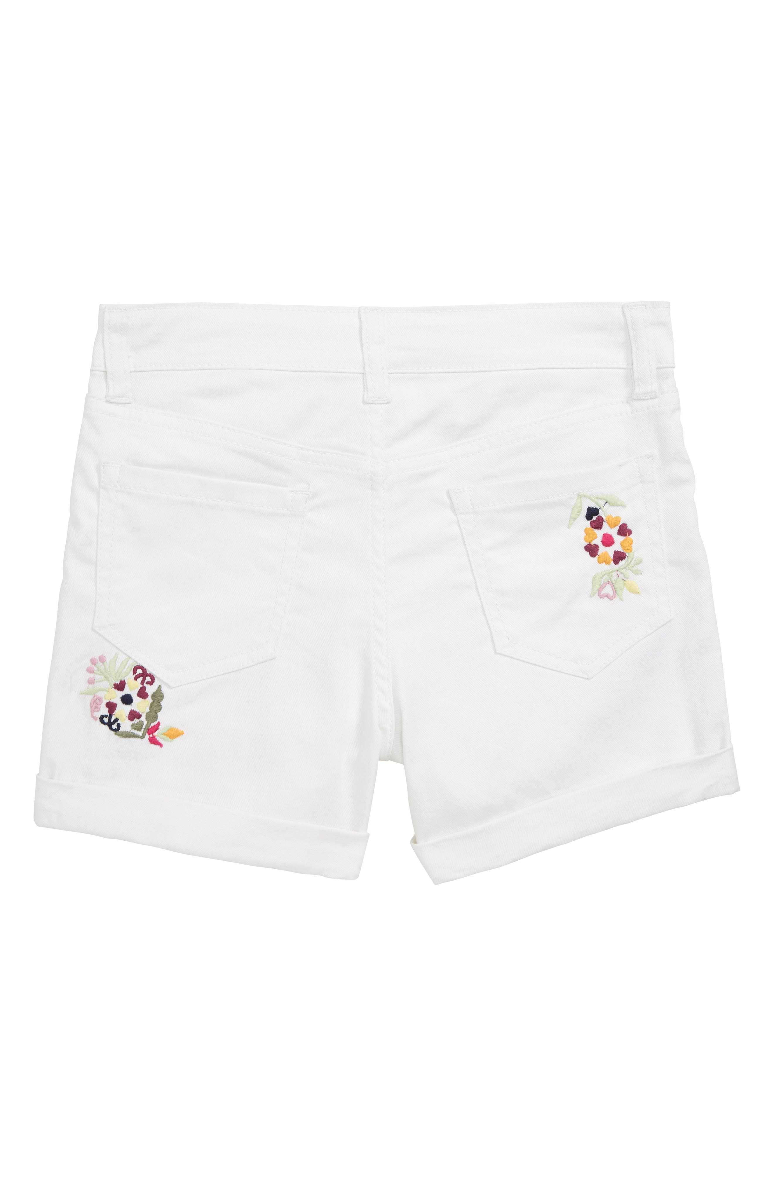 Griffin Embroidered Cuffed Denim Shorts,                             Alternate thumbnail 2, color,                             100