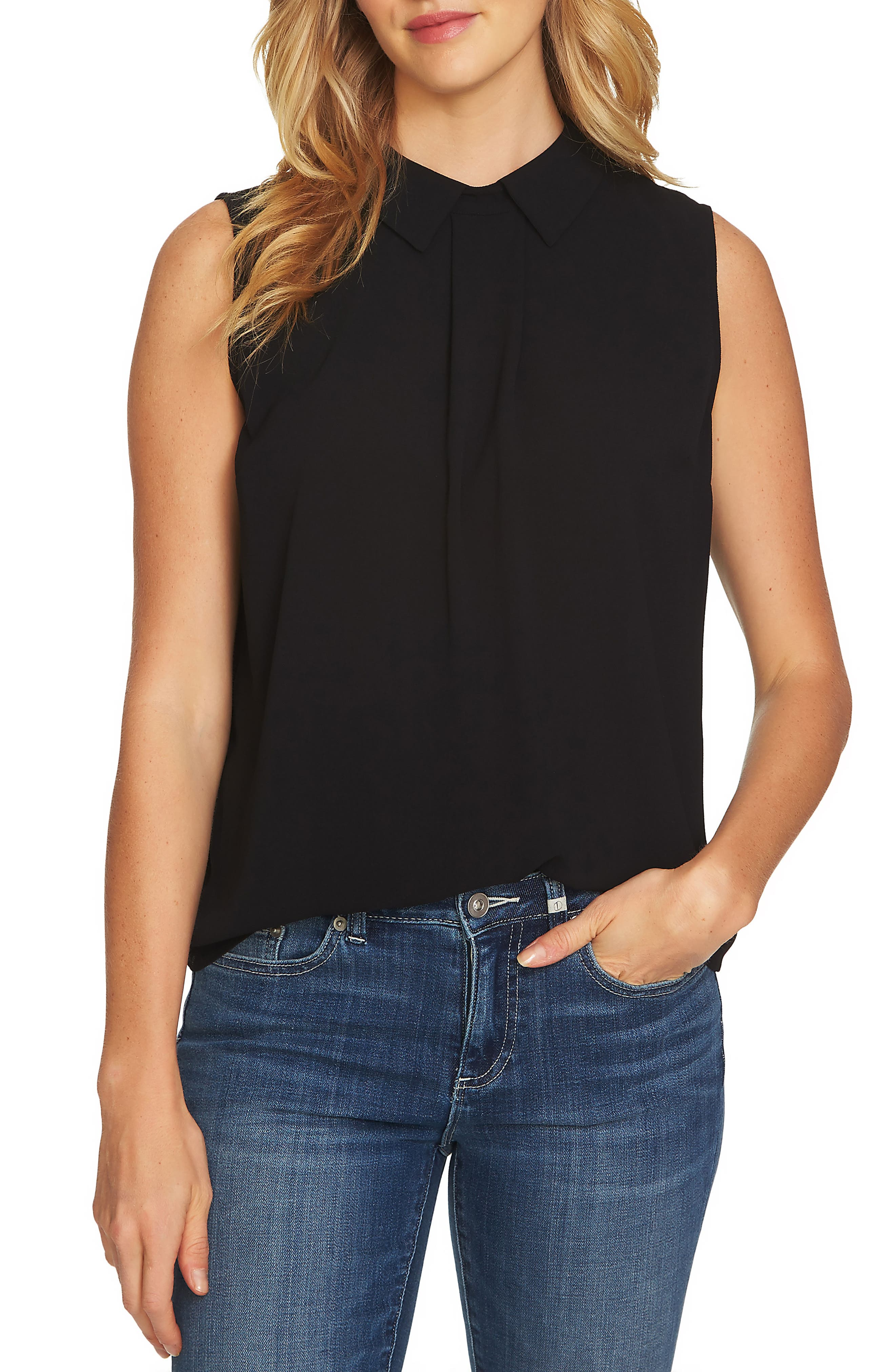 Collared Pleat Front Blouse,                         Main,                         color, RICH BLACK