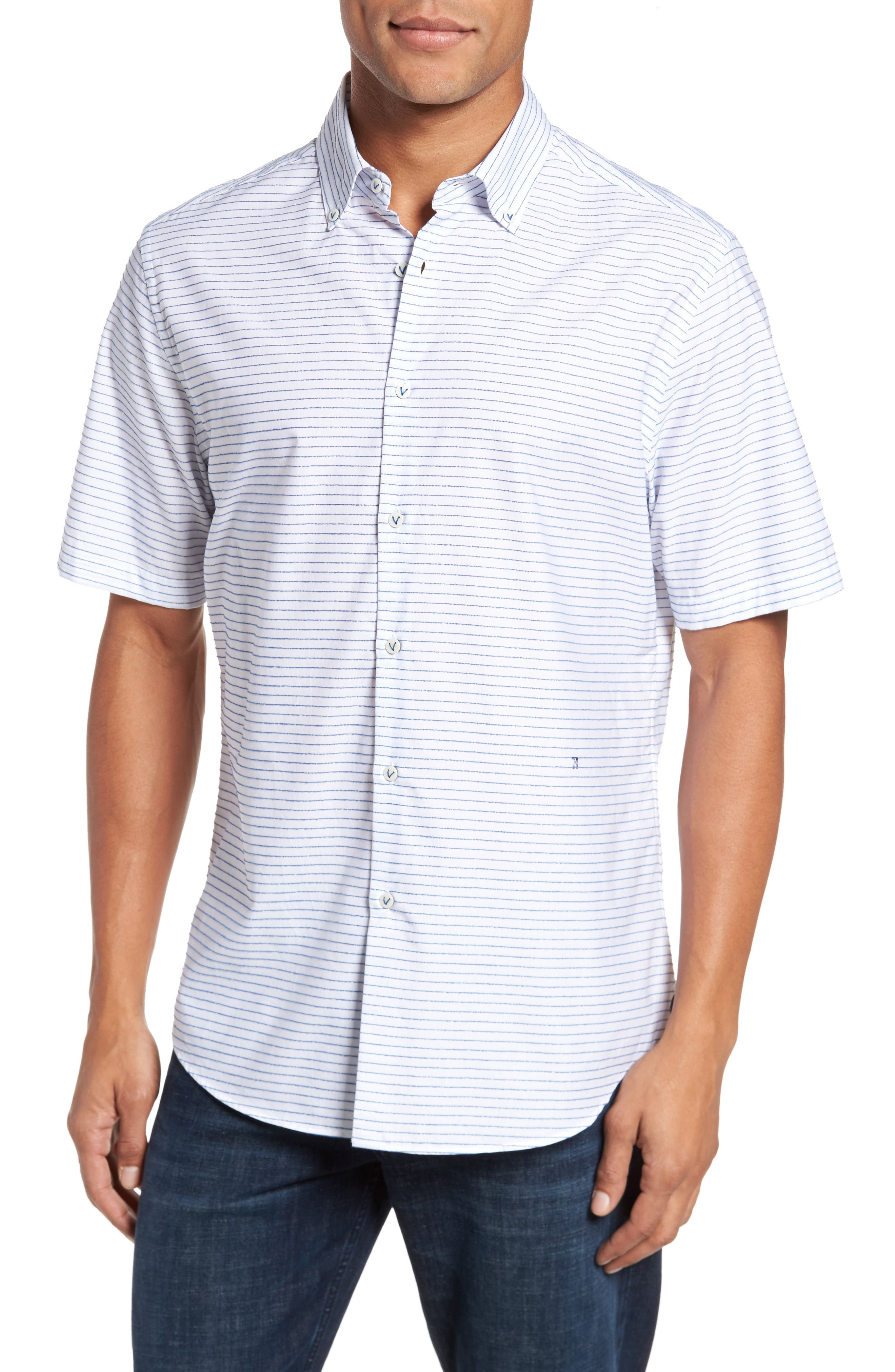Slim Fit Stripe Sport Shirt,                         Main,                         color, 163