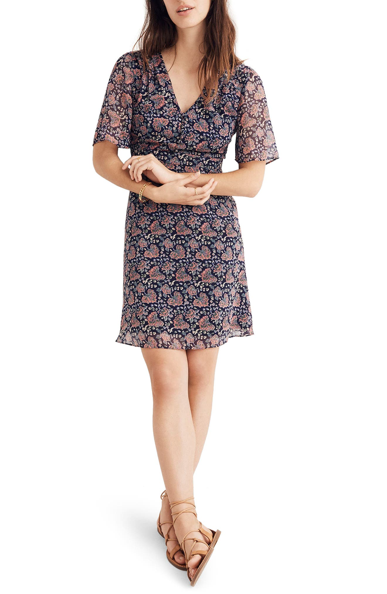 Orchard Flutter Sleeve Dress,                             Main thumbnail 1, color,                             400