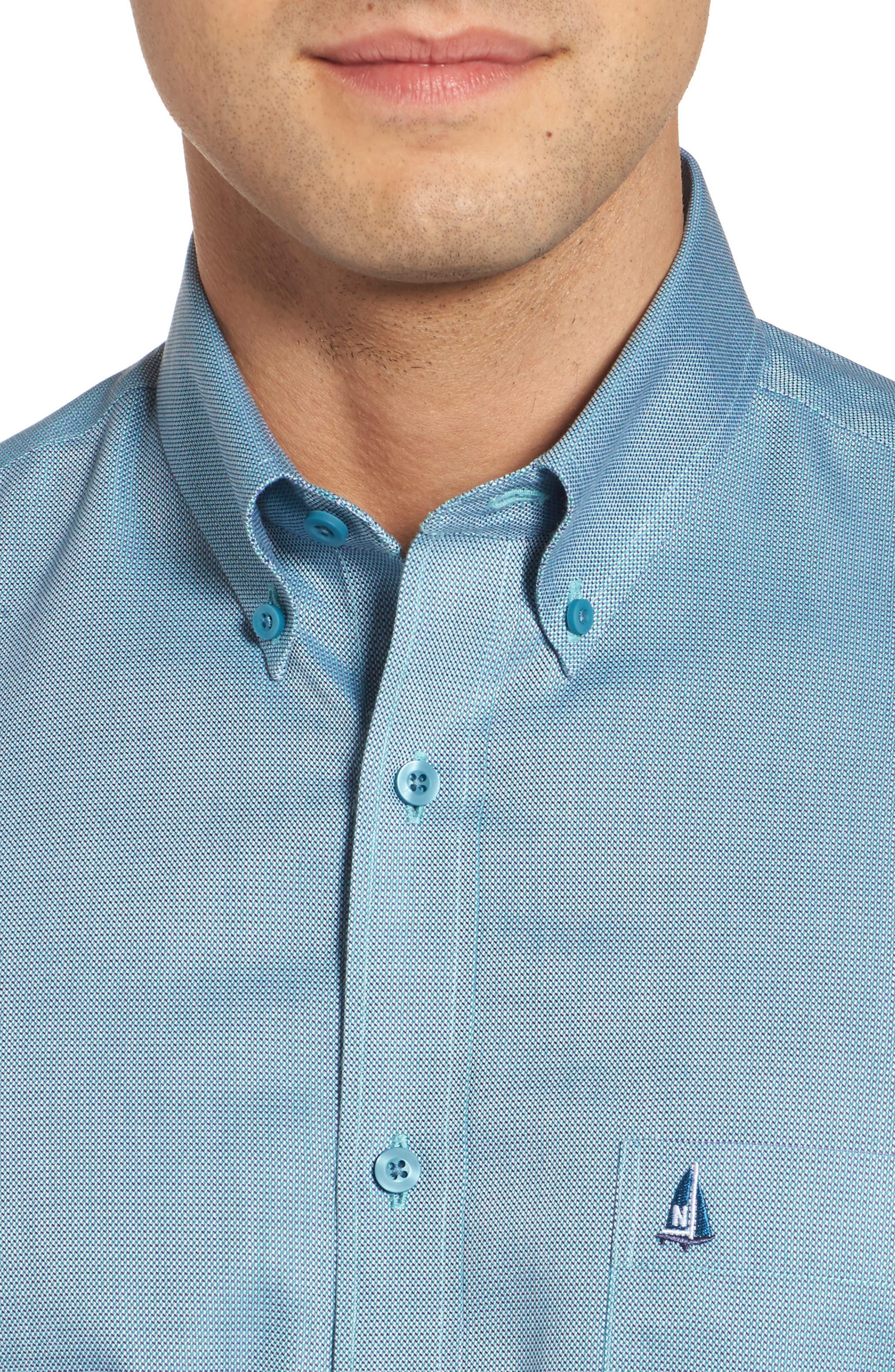 'Classic' Smartcare<sup>™</sup> Regular Fit Short Sleeve Cotton Sport Shirt,                             Alternate thumbnail 87, color,