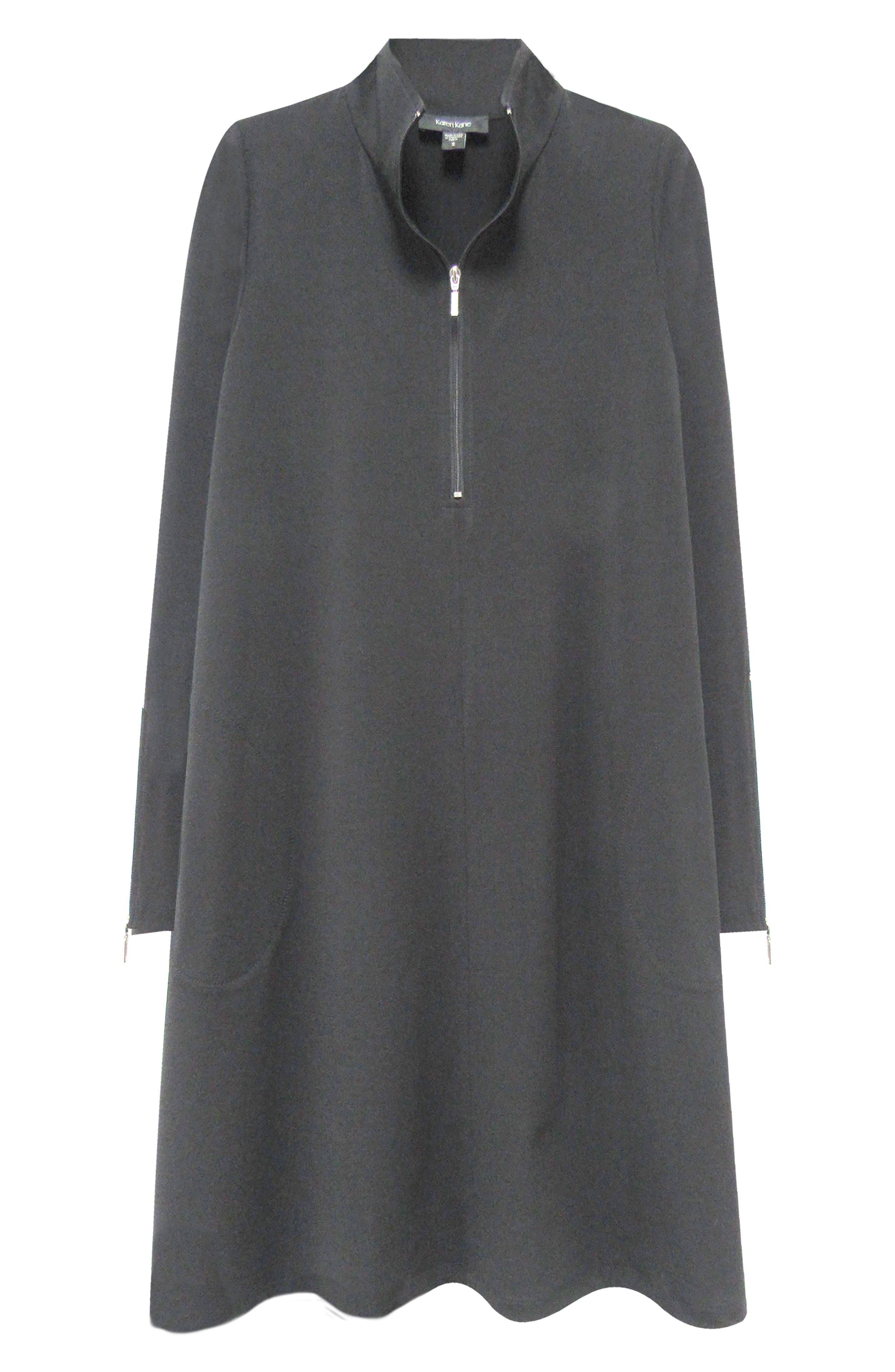 Quarter Zip A-Line Dress,                             Alternate thumbnail 3, color,                             BLACK