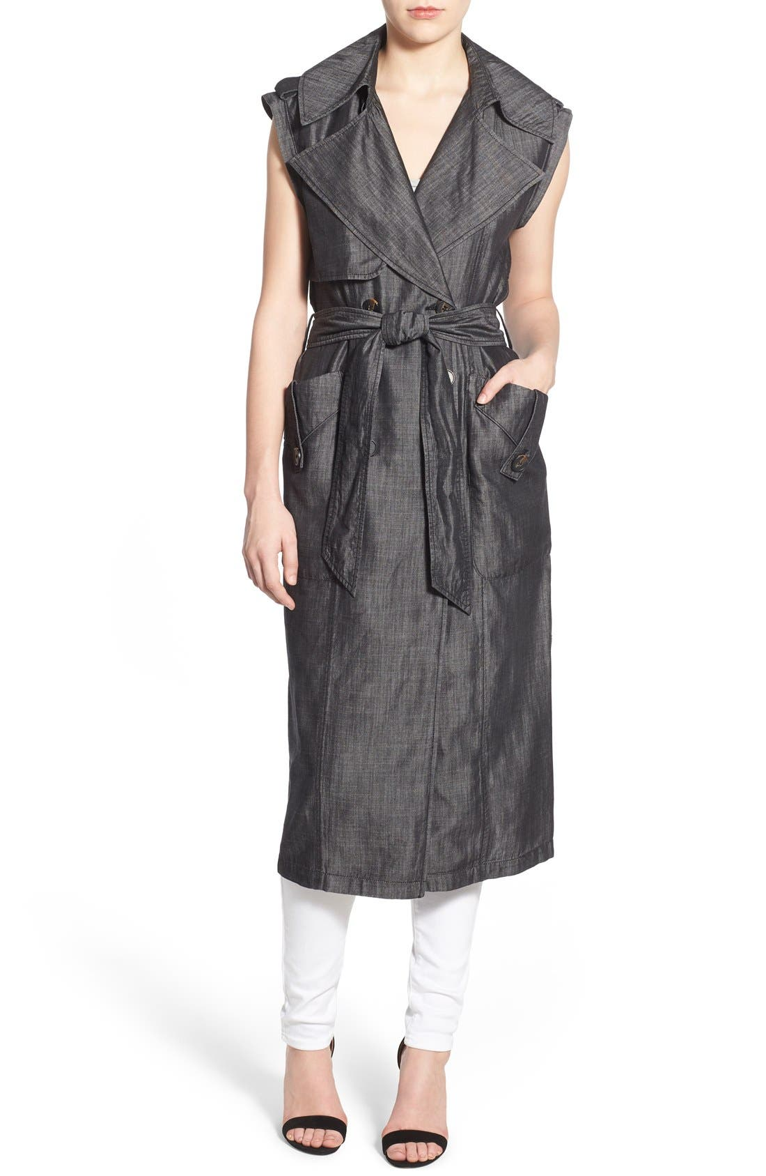Chambray Long Draped Vest,                             Alternate thumbnail 3, color,                             020