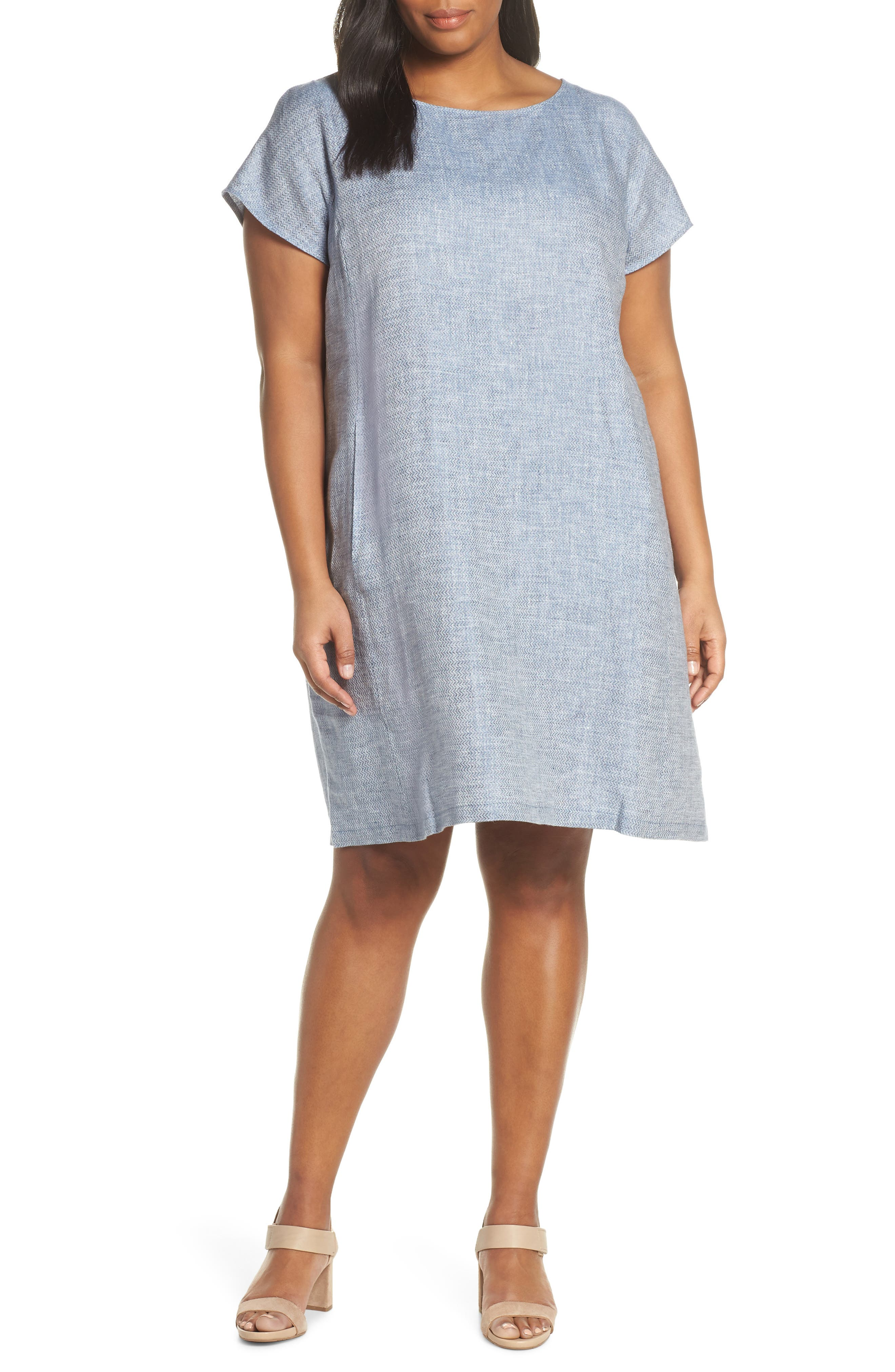 Plus Size Eileen Fisher Bateau Neck Chambray Shift Dress, Blue