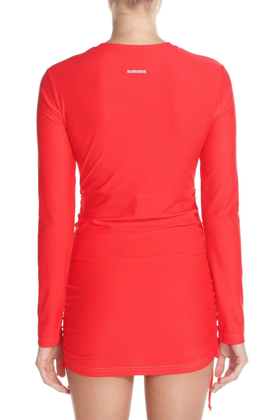 'Sonja' Long Sleeve Half Zip Convertible Swimdress,                             Alternate thumbnail 22, color,