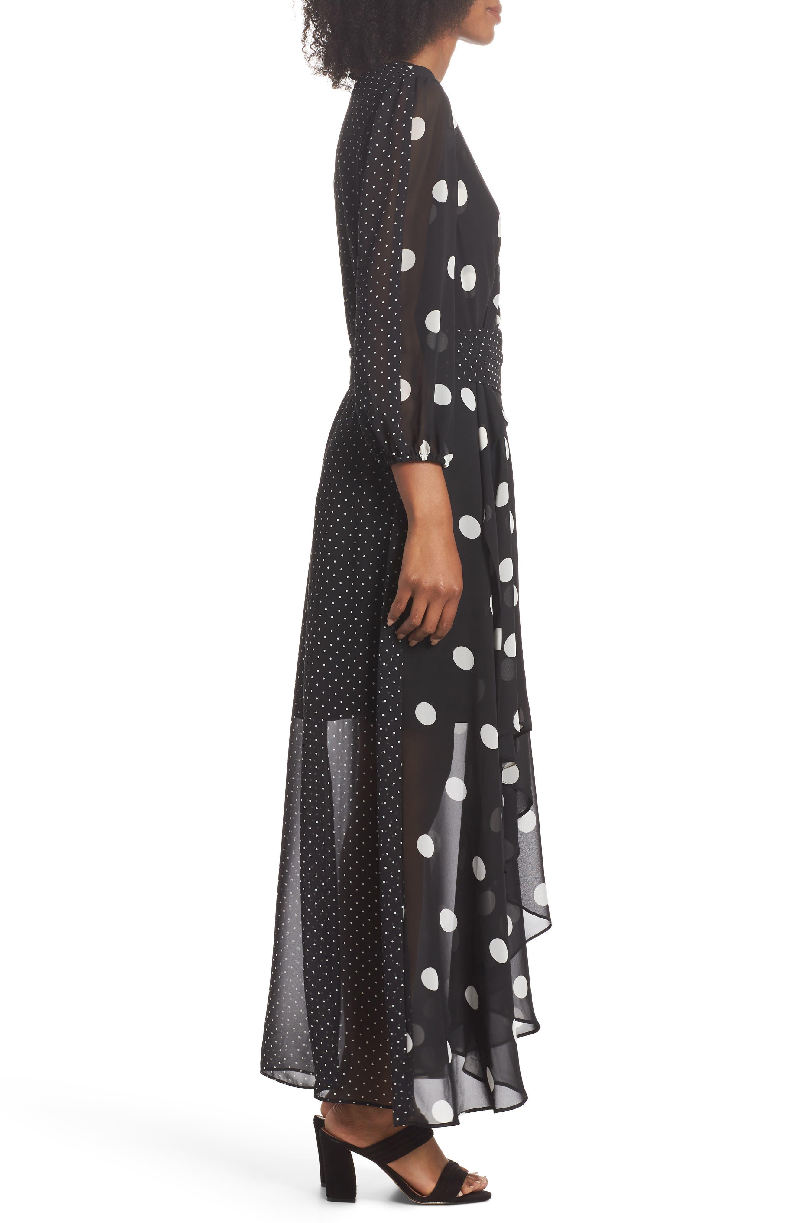 Polka Dot Chiffon Maxi Dress,                             Alternate thumbnail 3, color,                             012