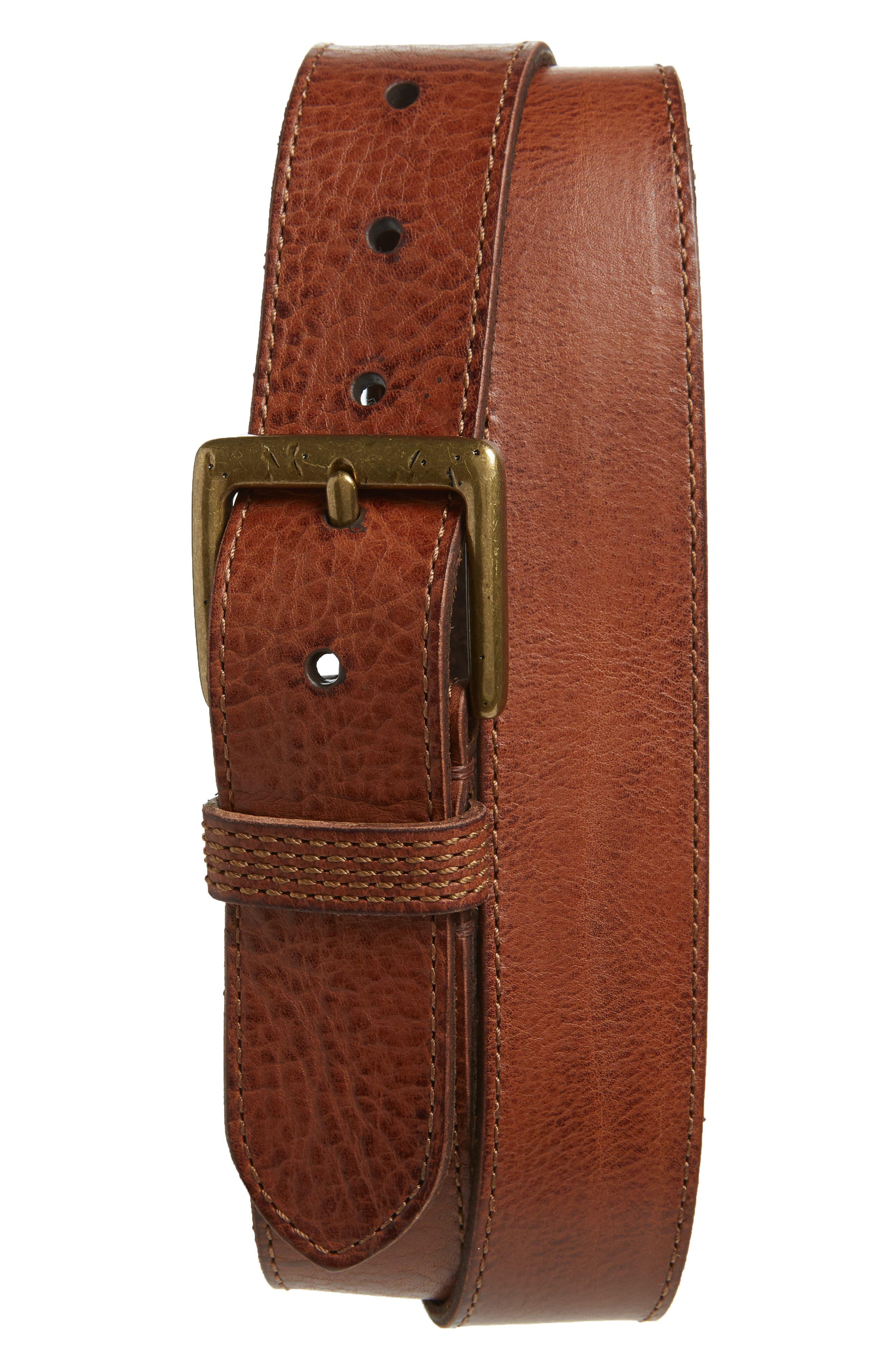 Frye Pebbled Leather Belt, Cognac