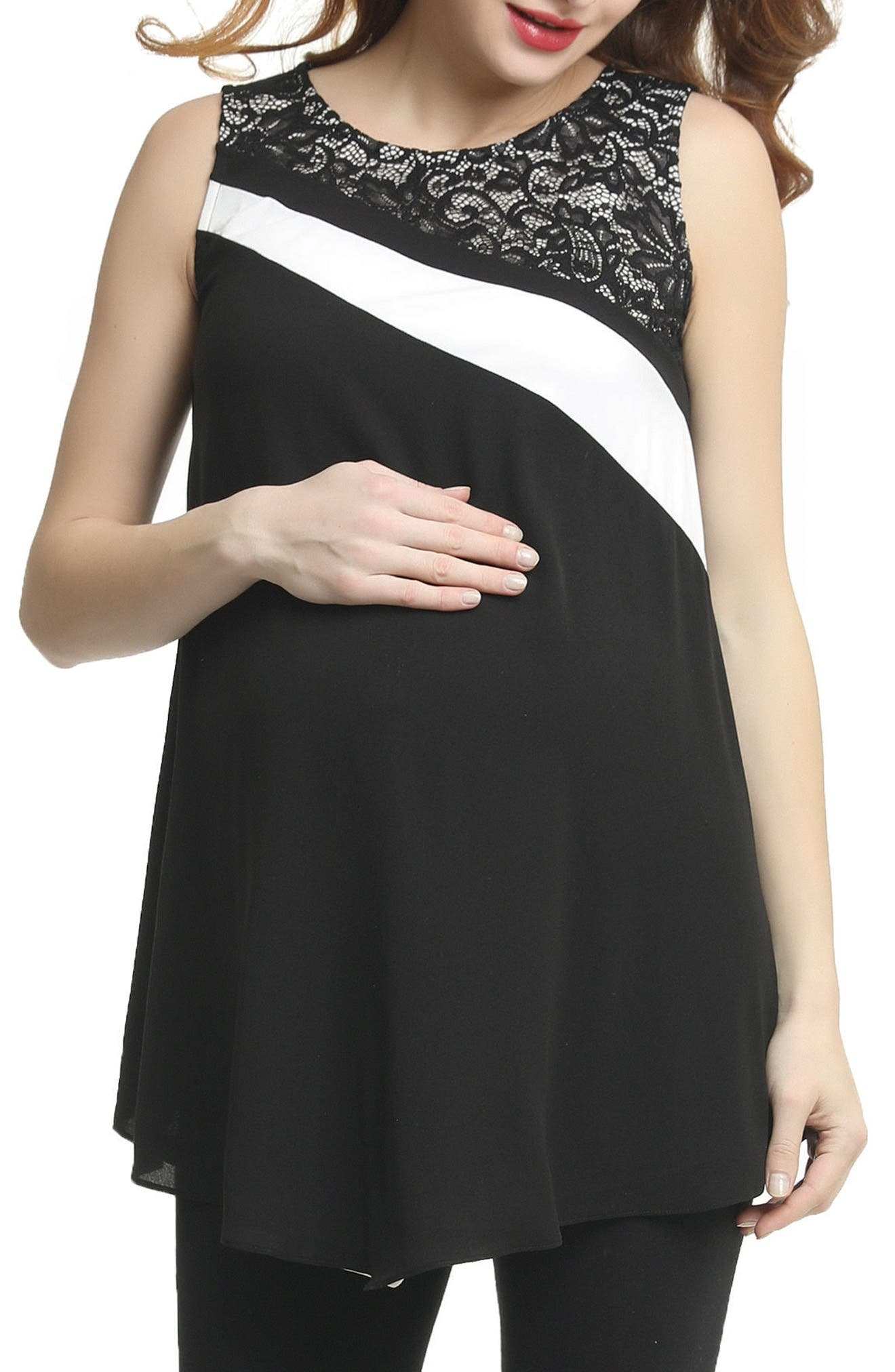 Bonnie Lace Accent Belted Maternity Top,                             Main thumbnail 1, color,                             BLACK/ WHITE