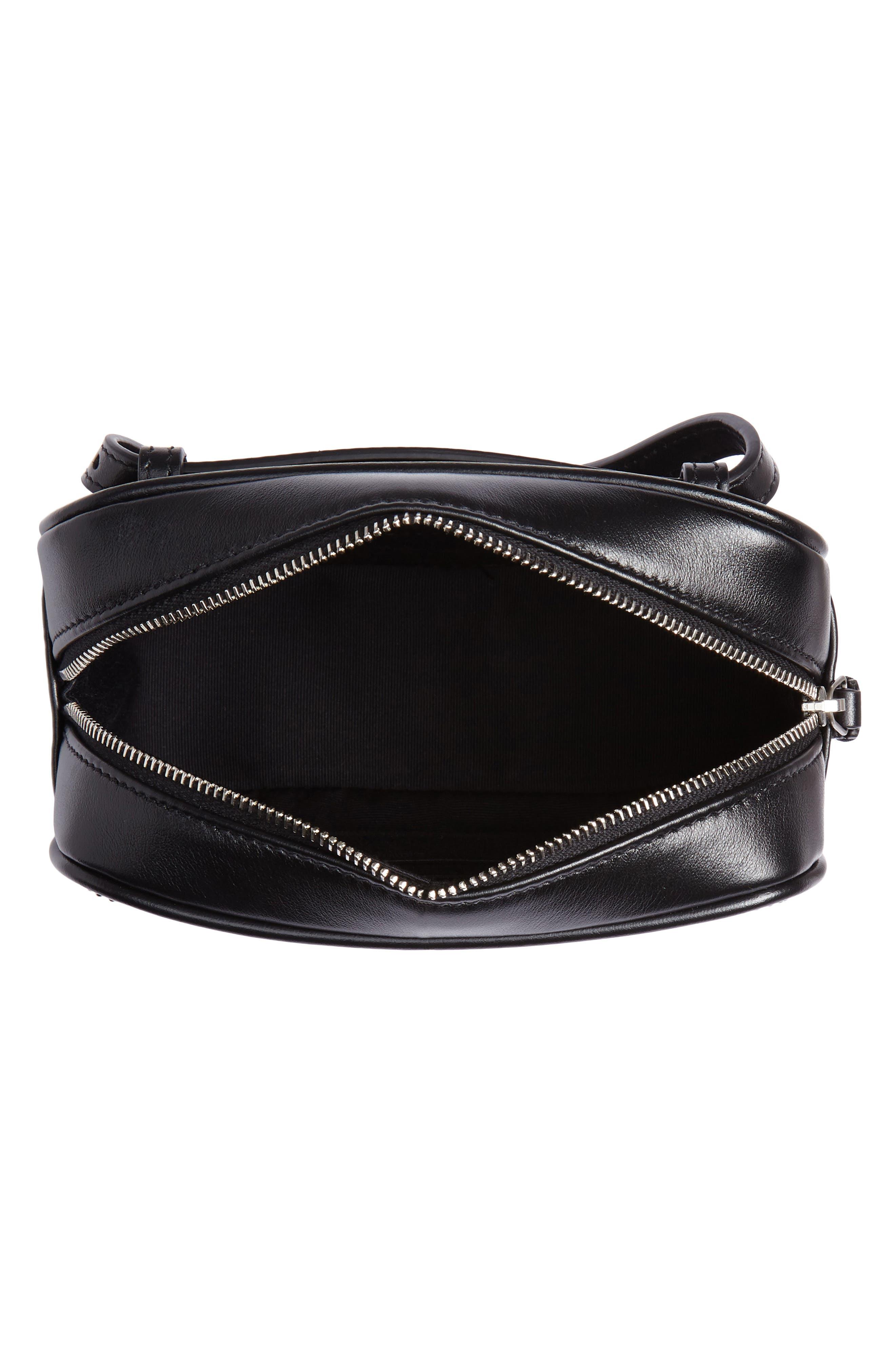 Micro Lou Stud Hearts Calfskin Leather Belt Bag,                             Alternate thumbnail 5, color,                             NOIR
