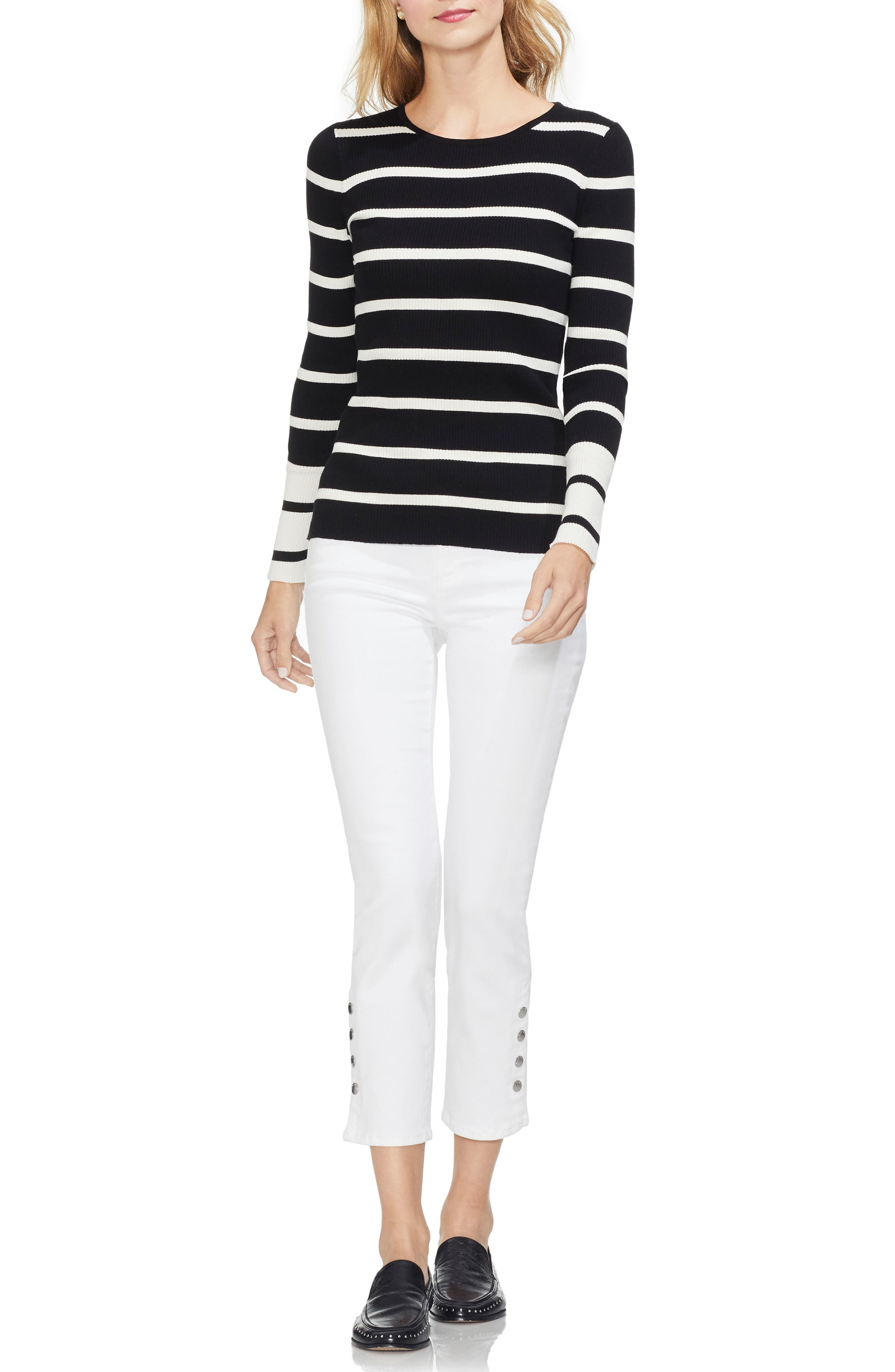 Ribbed Stripe Sweater,                             Alternate thumbnail 3, color,                             RICH BLACK