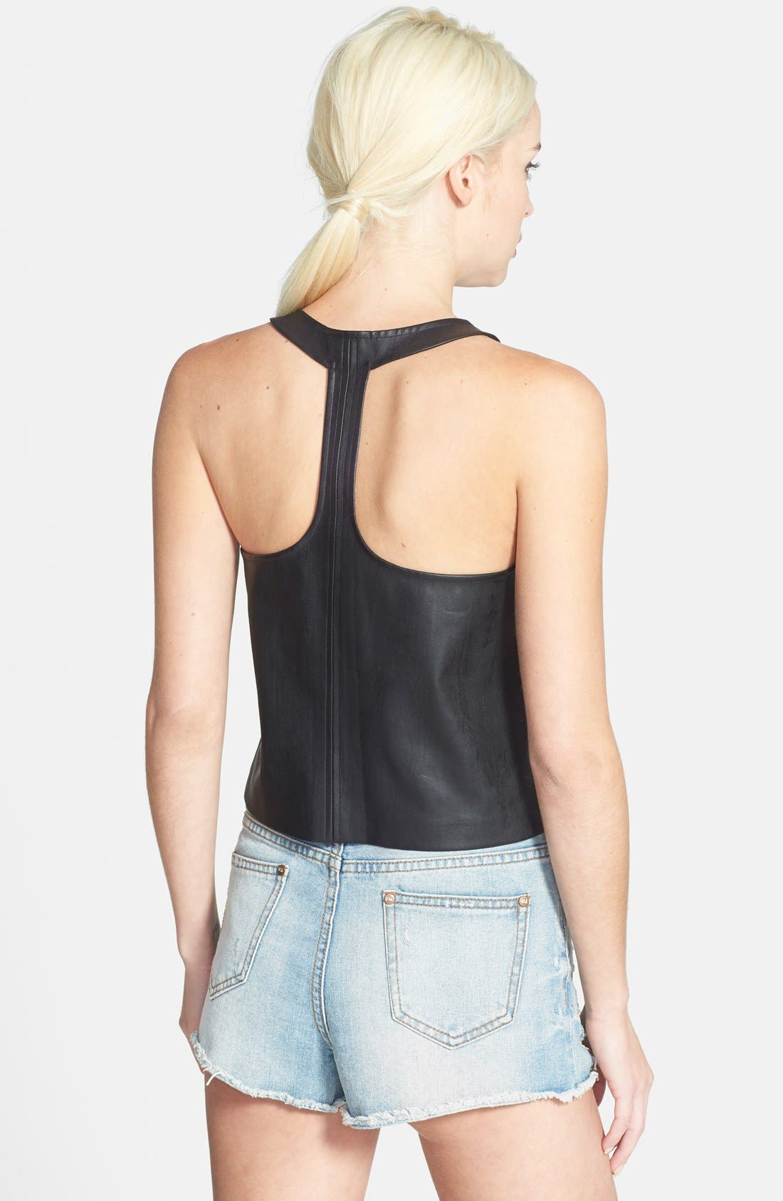 Faux Leather Tank,                             Alternate thumbnail 3, color,                             001