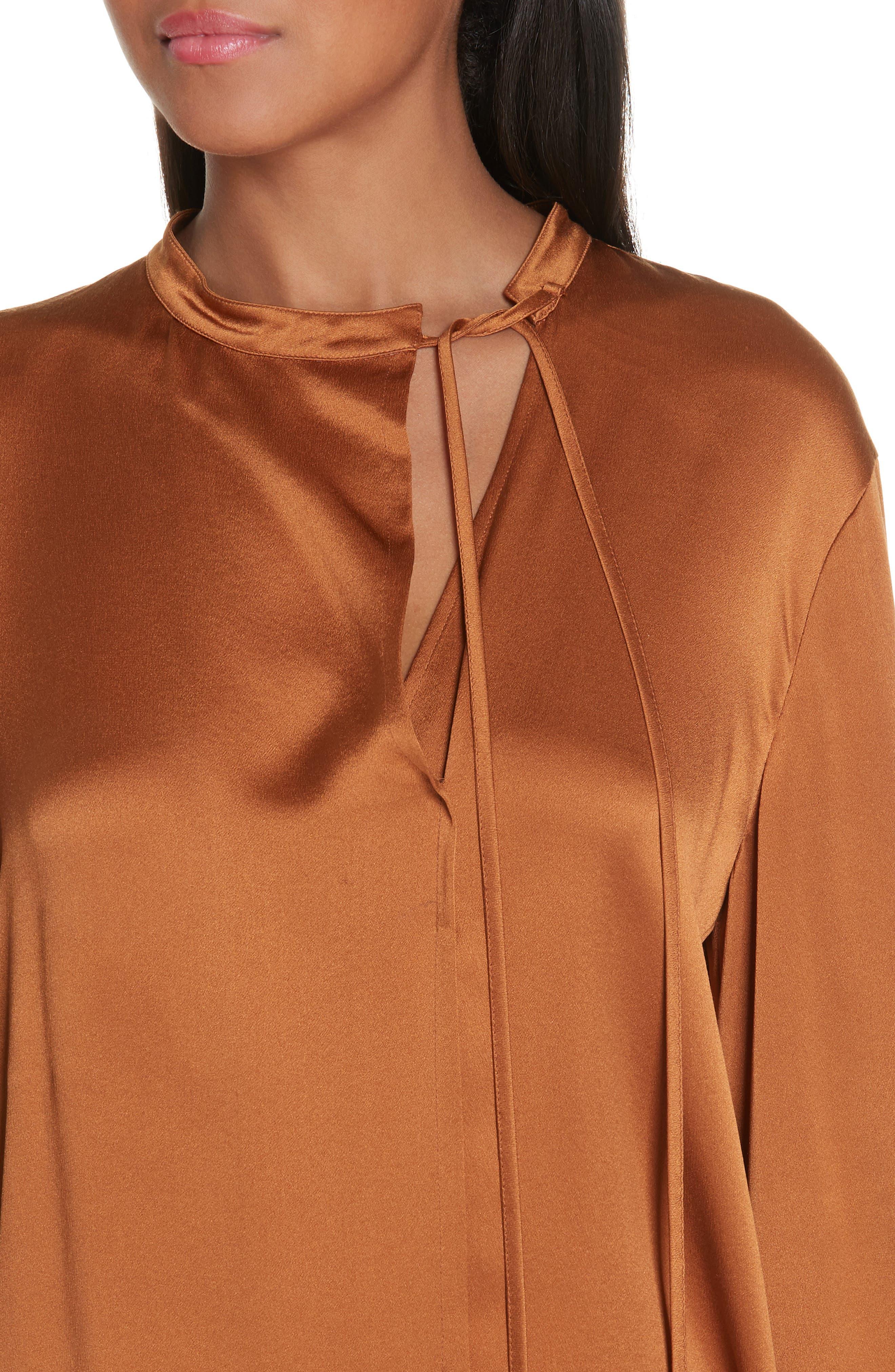 Tie Neck Silk Popover Blouse,                             Alternate thumbnail 4, color,                             LIGHT COPPER