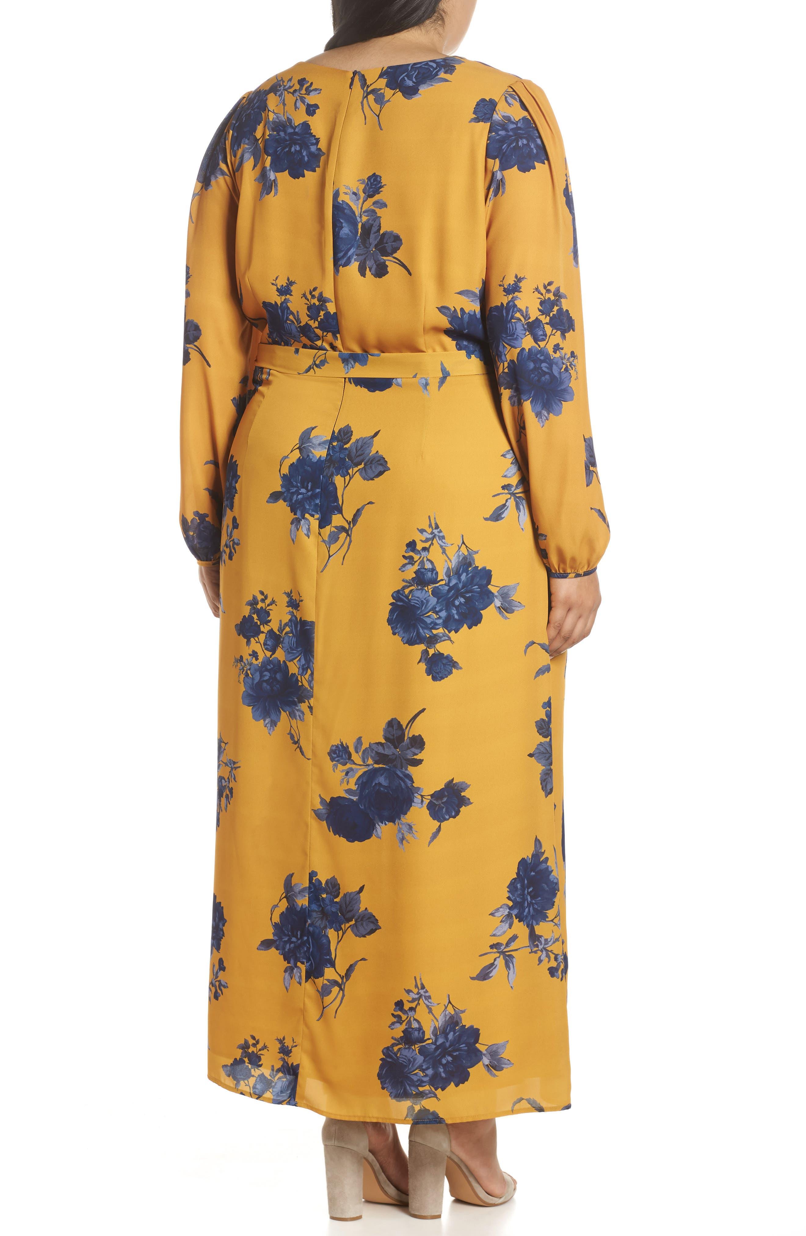 CHELSEA28,                             Floral Print Faux Wrap Maxi Dress,                             Alternate thumbnail 2, color,                             YELLOW NAVY
