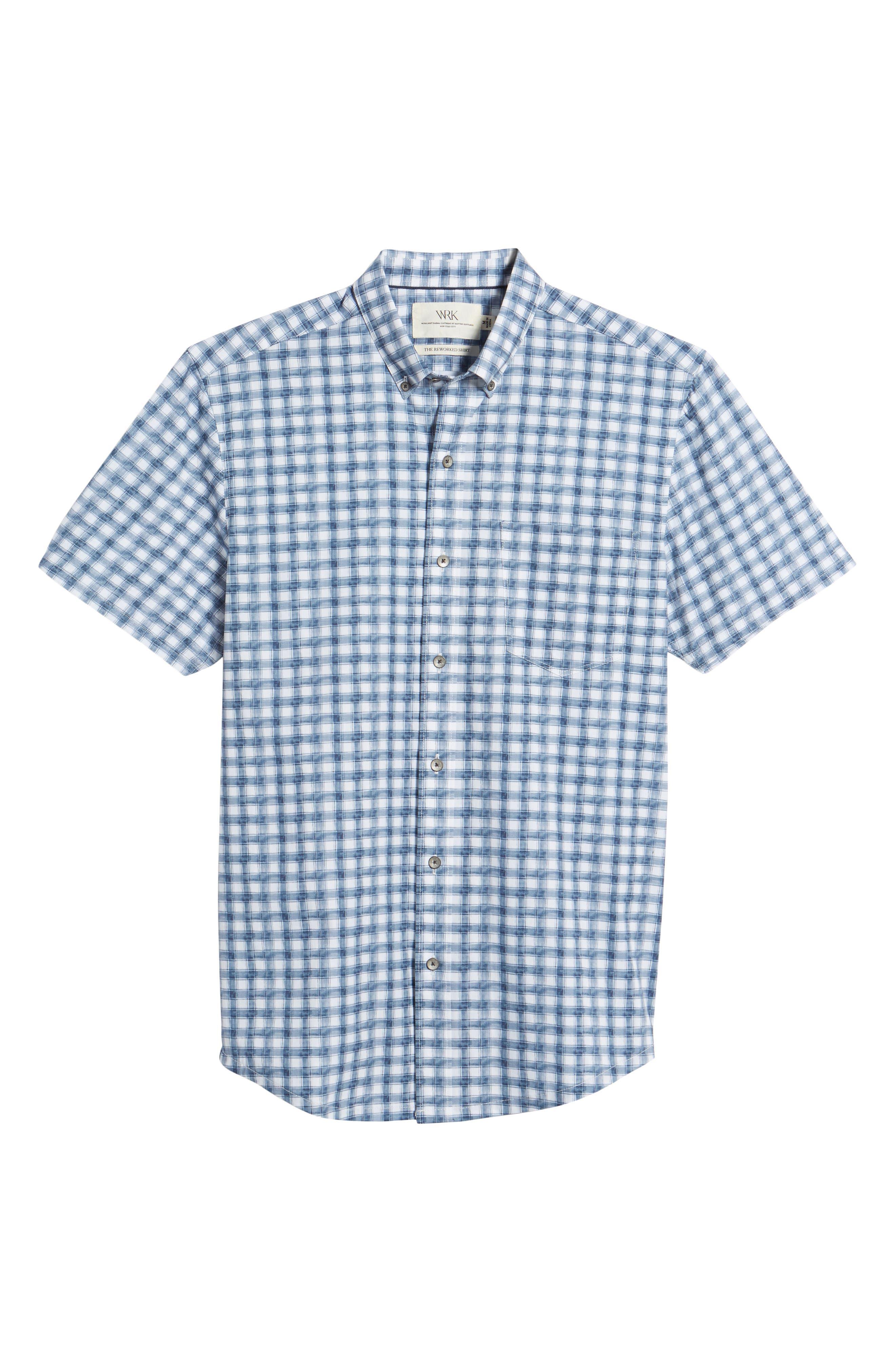 Watercolor Slim Fit Stretch Short Sleeve Sport Shirt,                             Alternate thumbnail 6, color,                             020