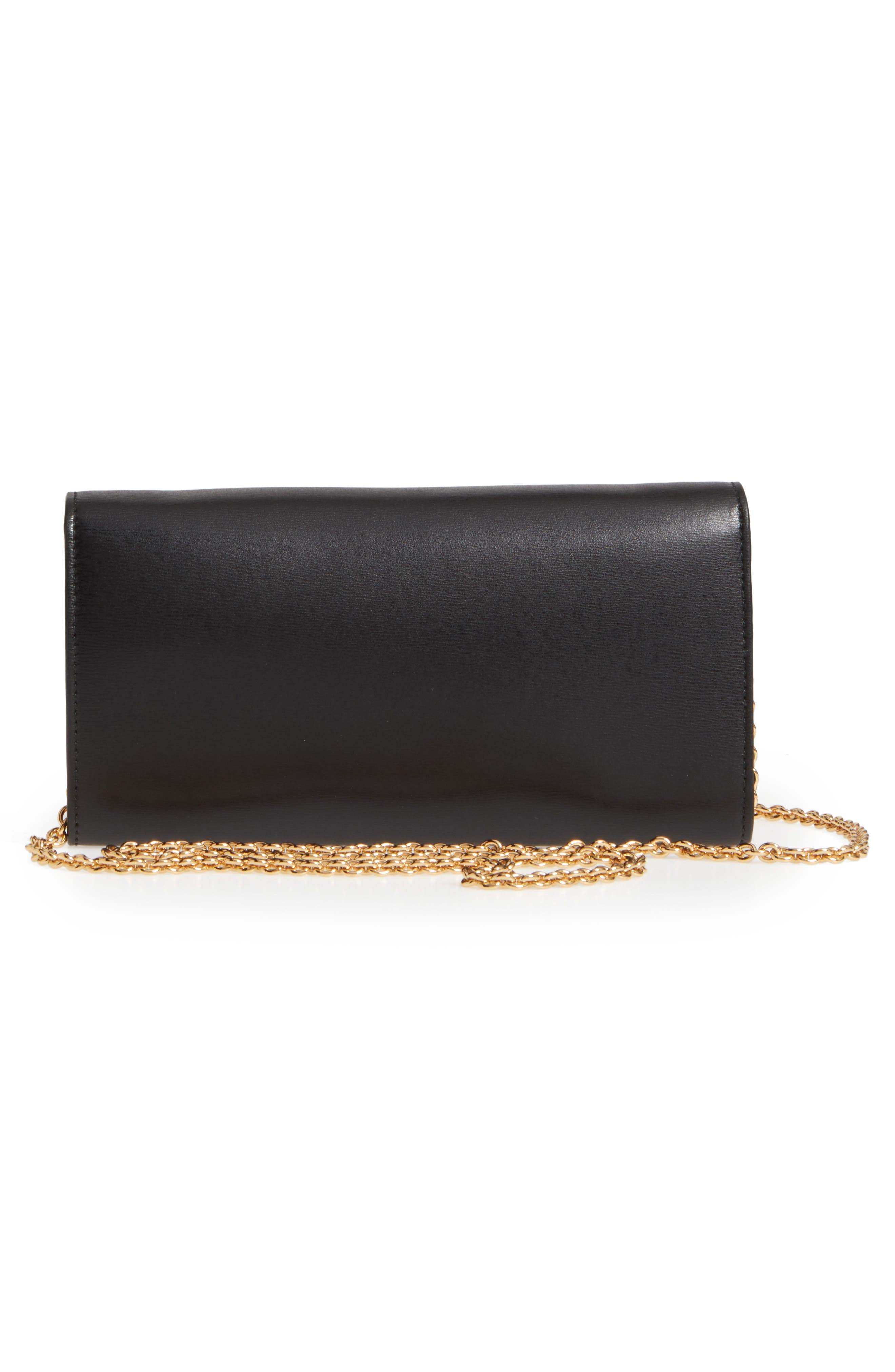 City Quilted Gancio Leather Wallet on a Chain,                             Alternate thumbnail 3, color,                             NERO