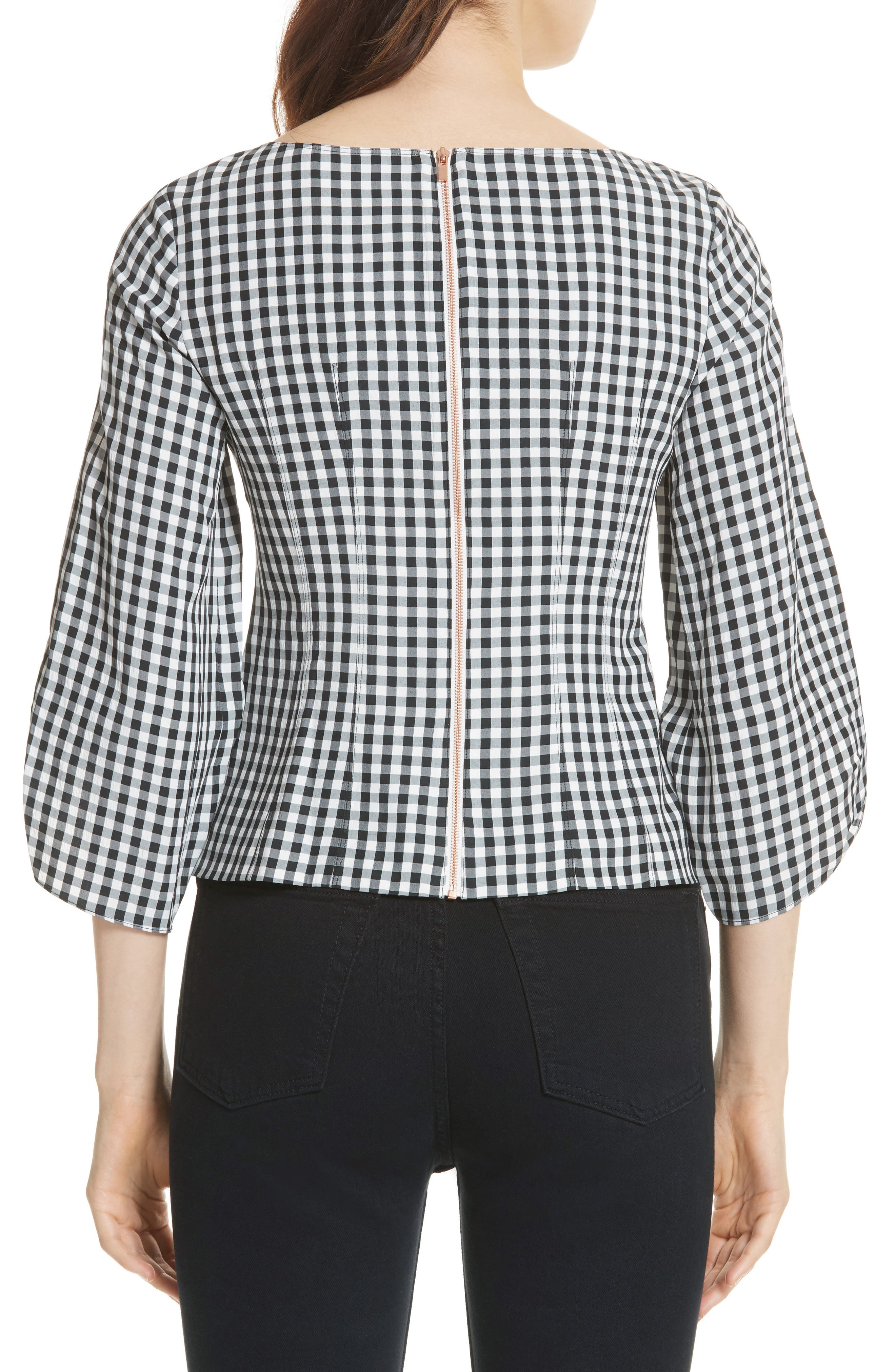Gingham Corset Peplum Blouse,                             Alternate thumbnail 2, color,                             006