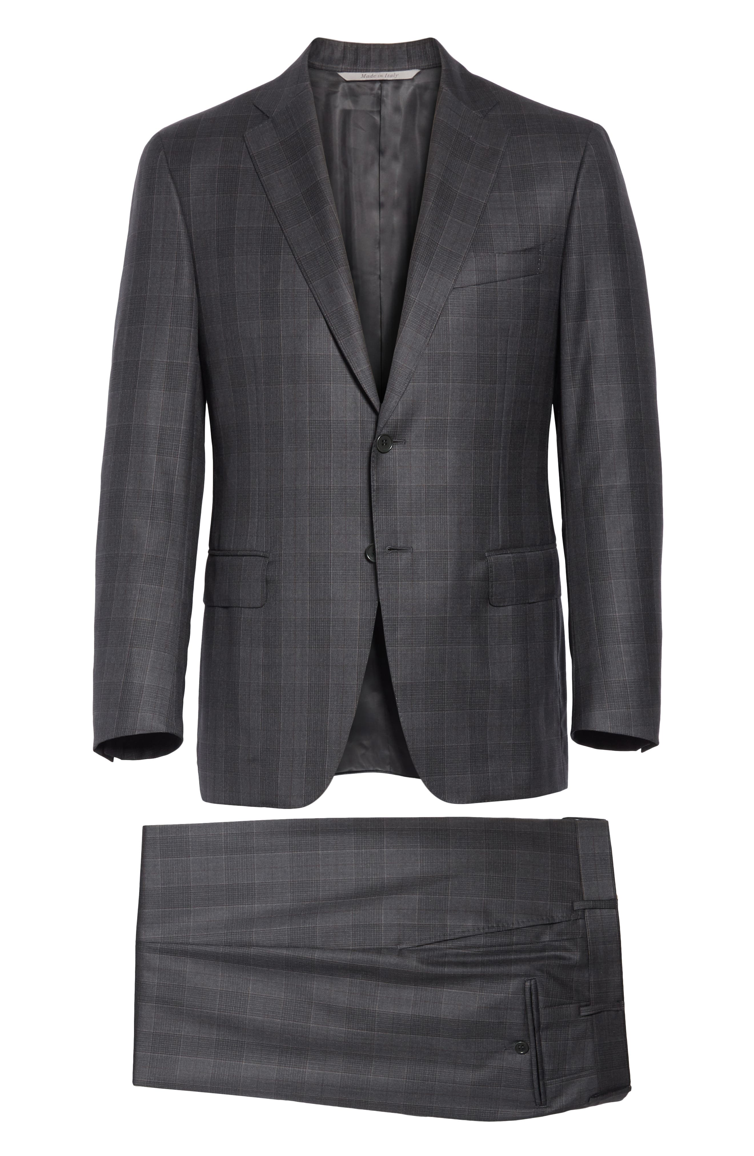 Classic Fit Plaid Wool Suit,                             Alternate thumbnail 8, color,                             020