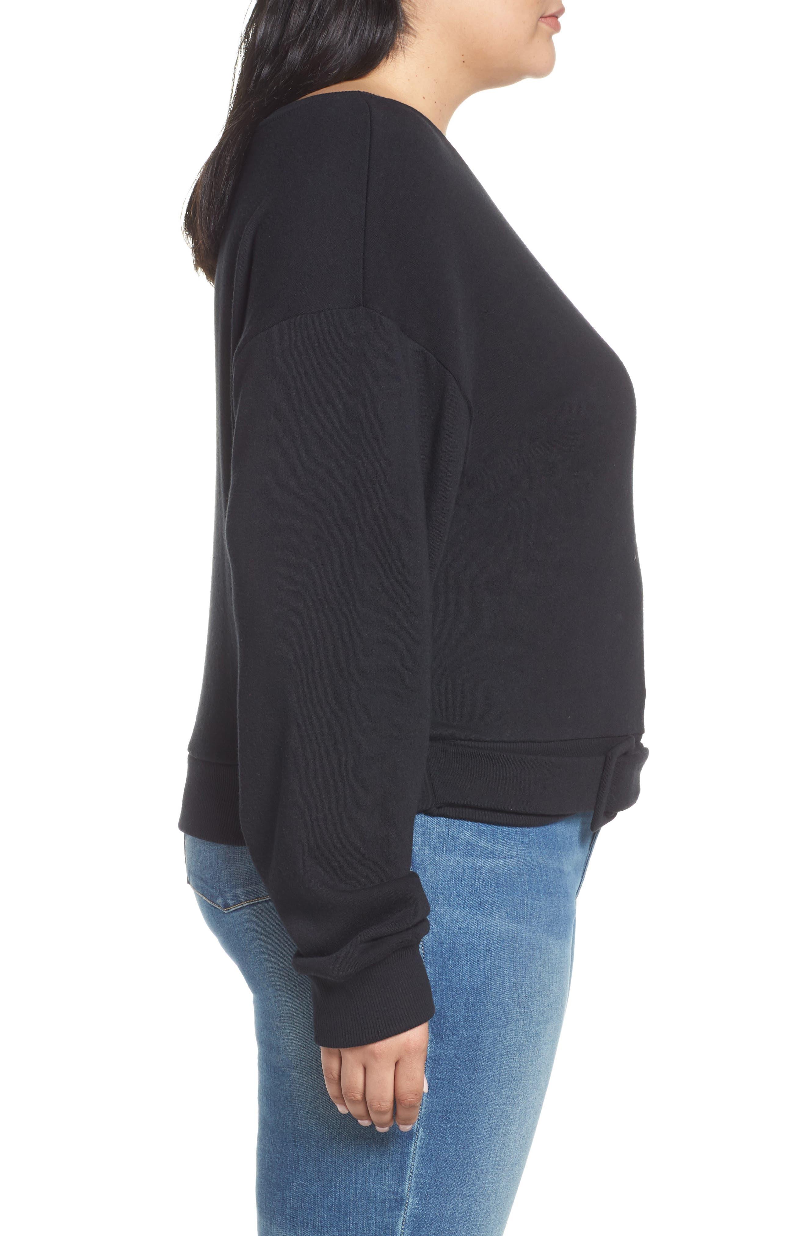 Belted Fleece Sweatshirt,                             Alternate thumbnail 3, color,                             001