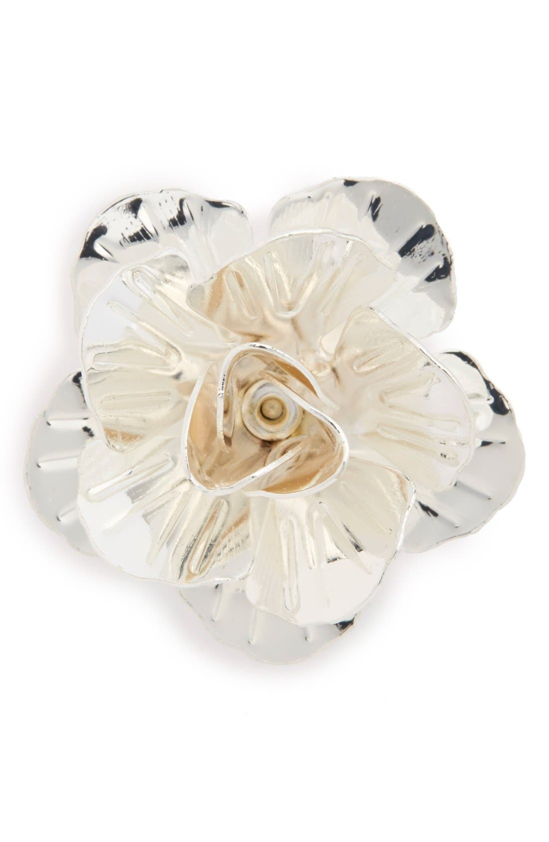 Metallic Floral Lapel Pin, Main, color, SILVER