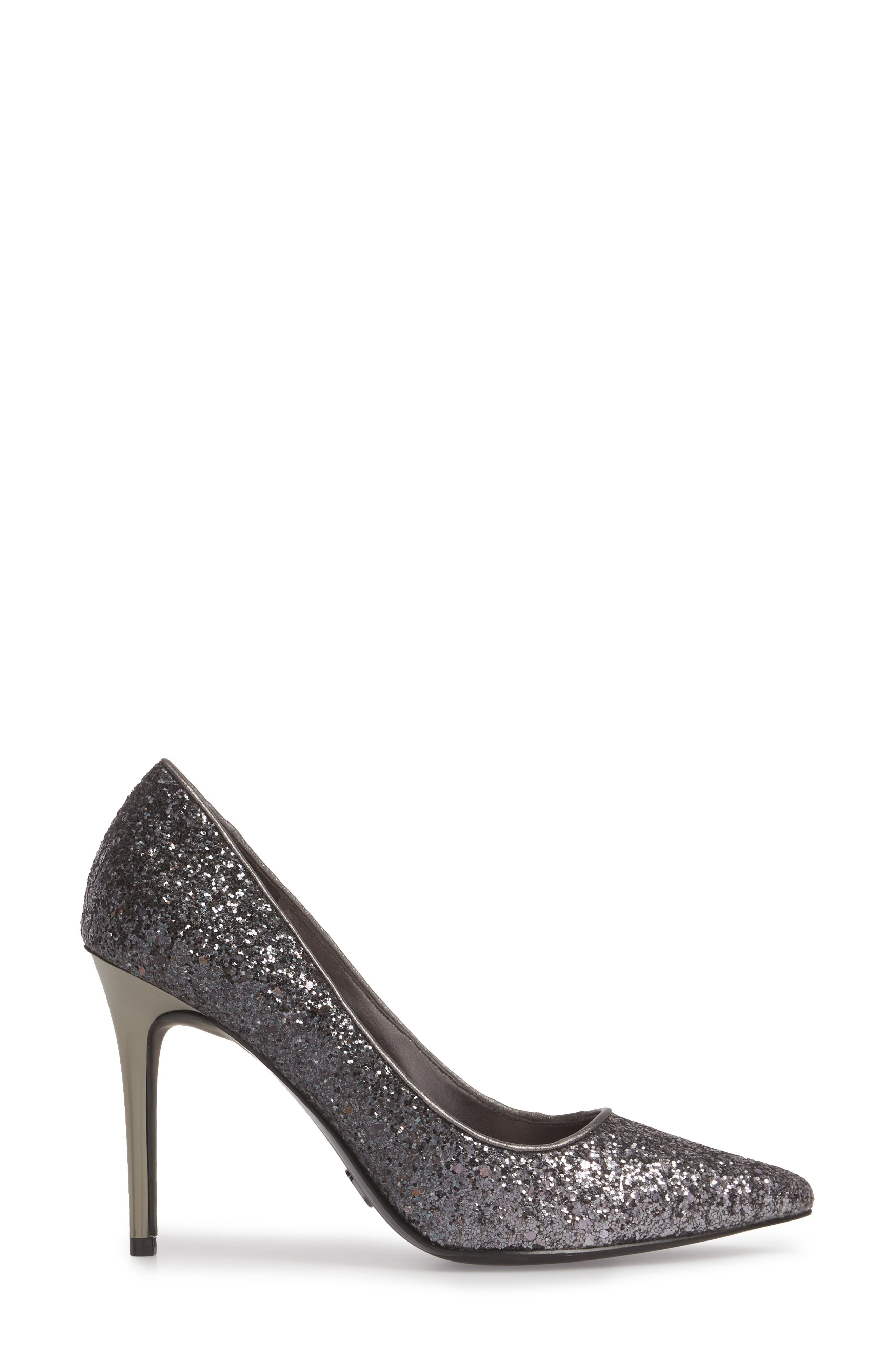 Claire Pointy Toe Pump,                             Alternate thumbnail 3, color,                             GUNMETAL GLITTER FABRIC