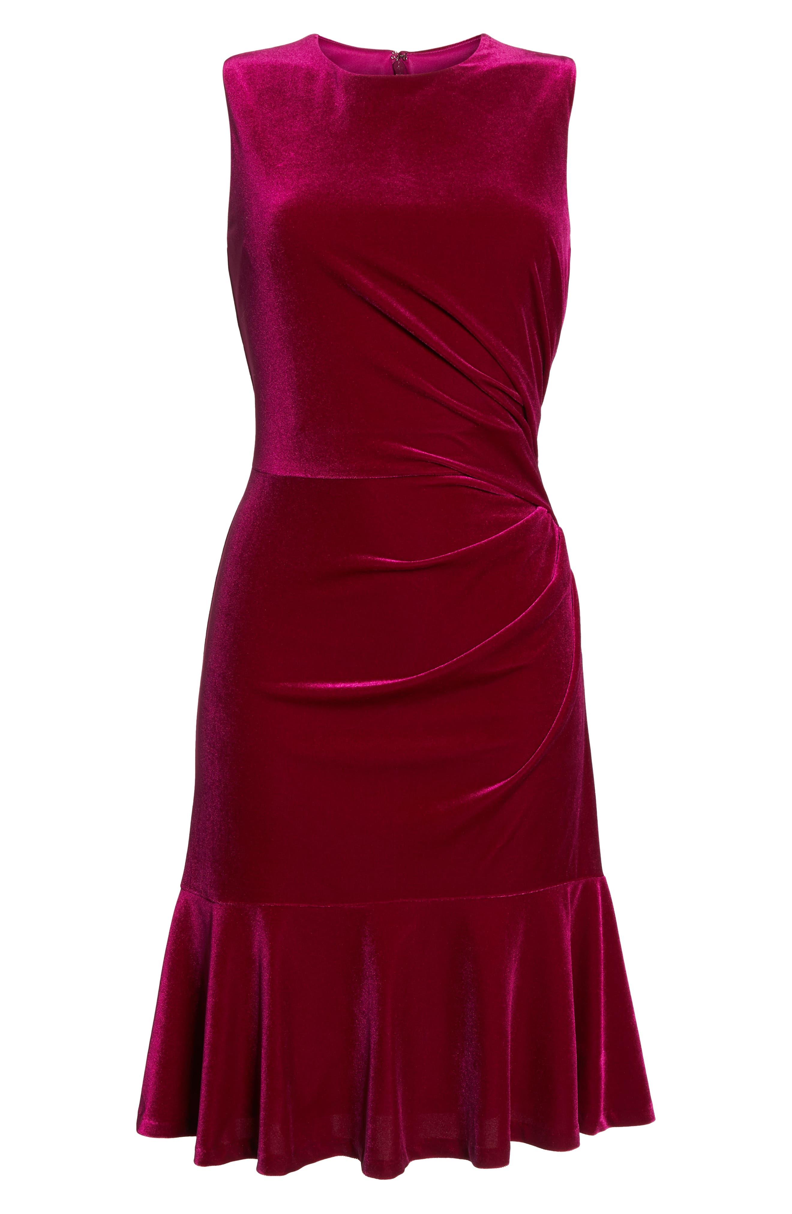 Draped Velvet Sheath Dress,                             Alternate thumbnail 7, color,                             FUCHSIA