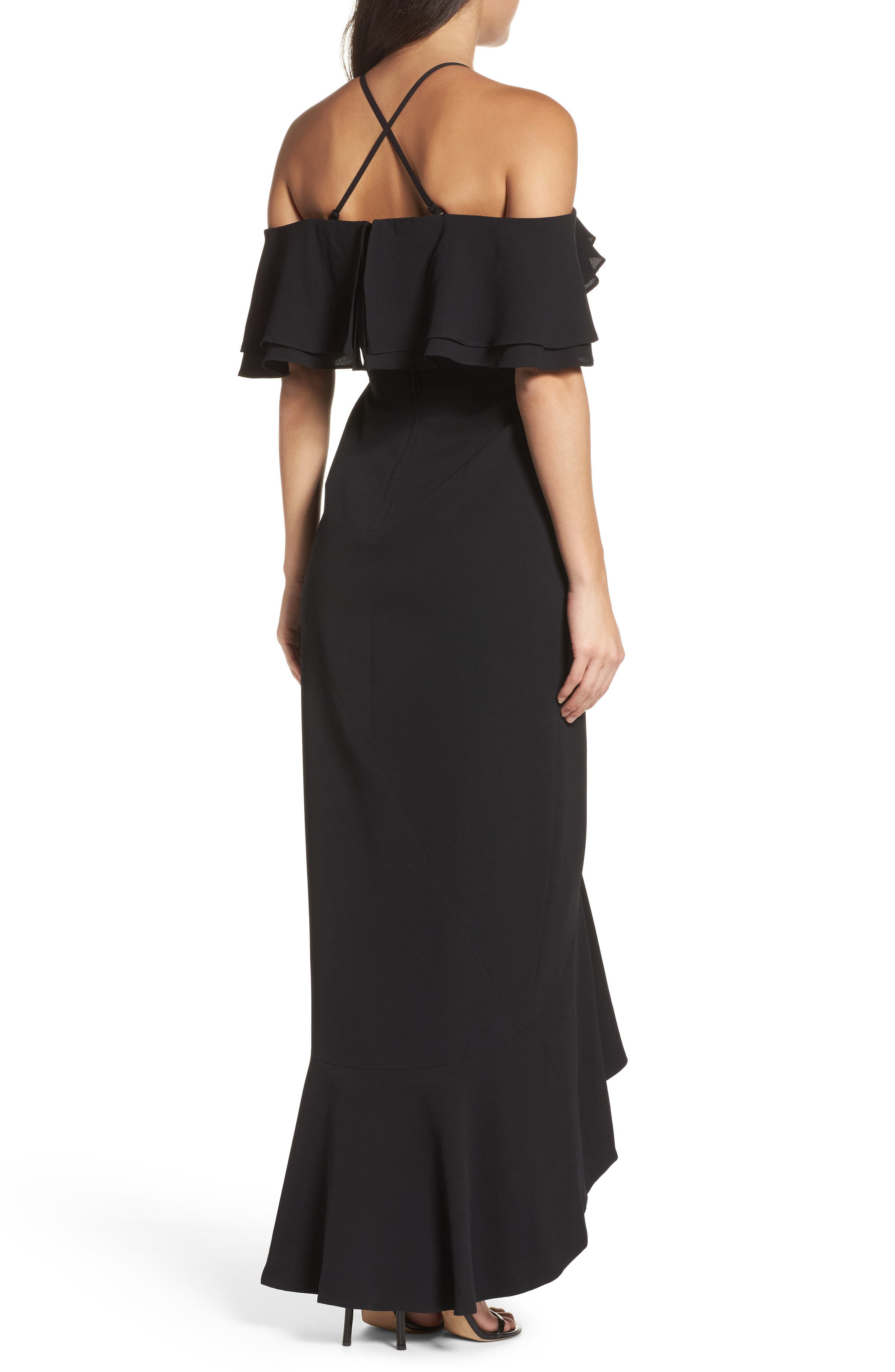 Covet Ruffle Off the Shoulder Gown,                             Alternate thumbnail 2, color,                             001