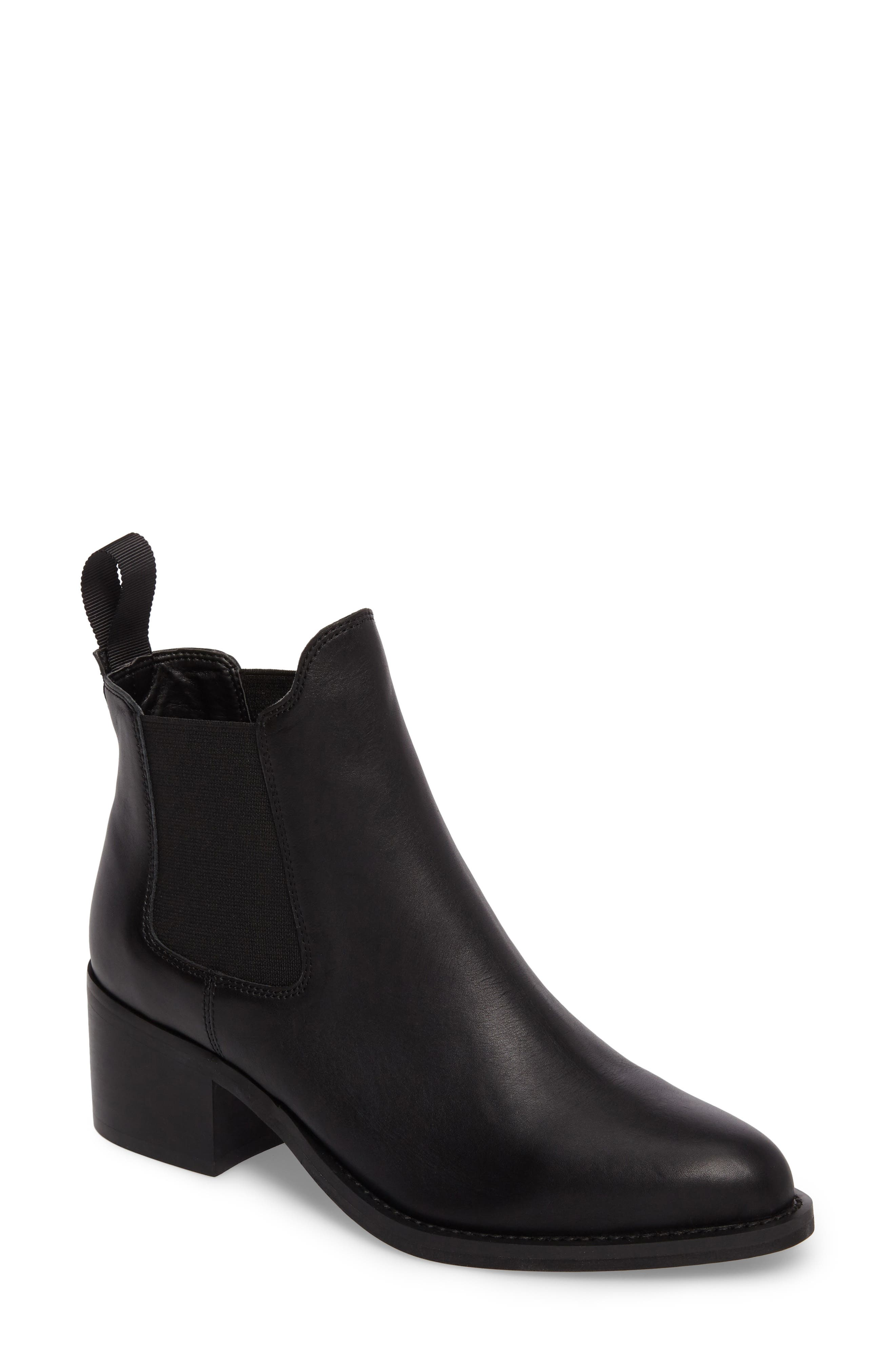 Fraya Ankle Bootie,                             Main thumbnail 1, color,                             BLACK LEATHER