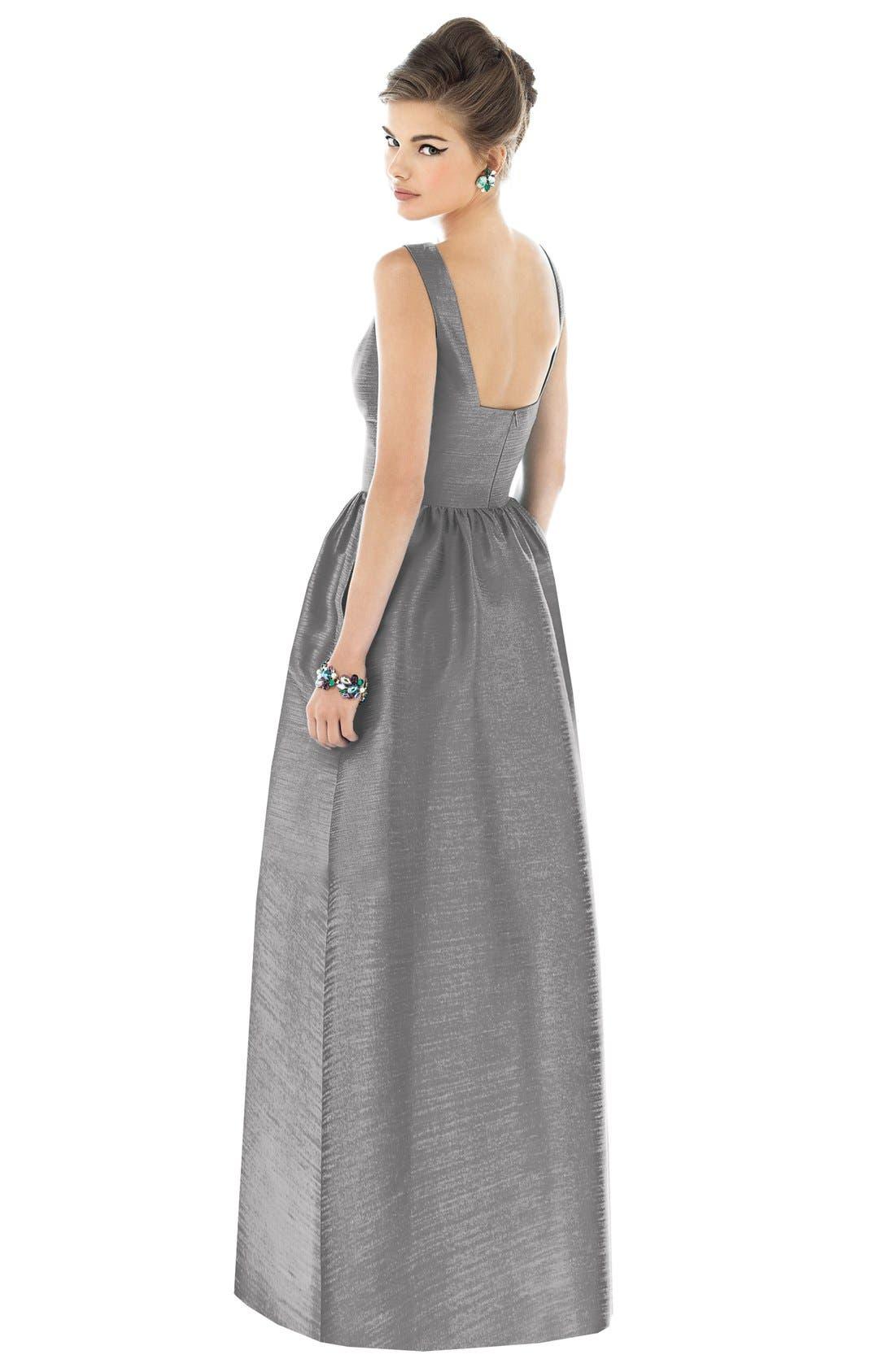 Square Neck Dupioni Full Length Dress,                             Alternate thumbnail 2, color,                             043
