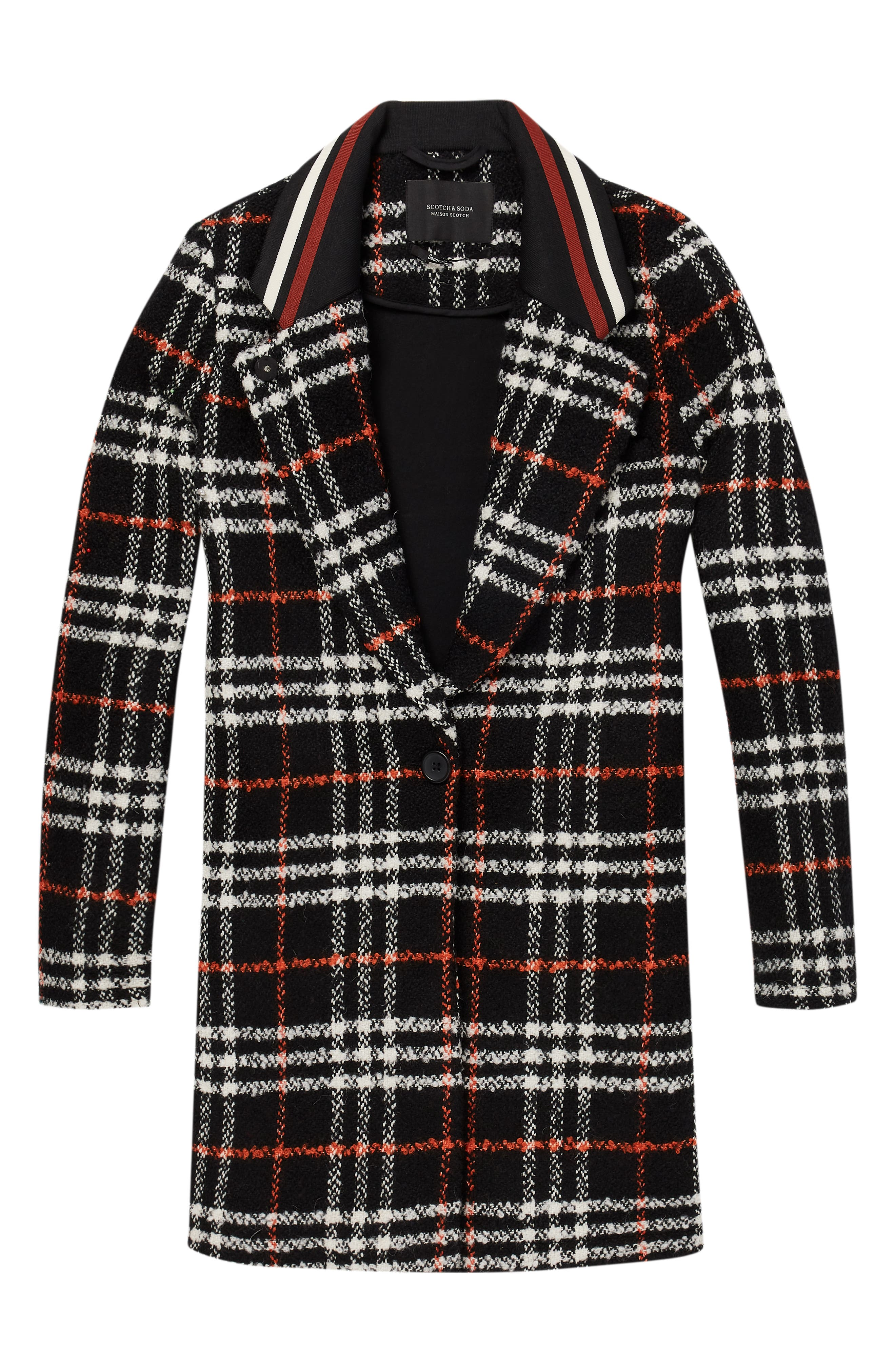 Bonded Wool Blend Jacket,                             Alternate thumbnail 3, color,                             BLACK AND RED PLAID