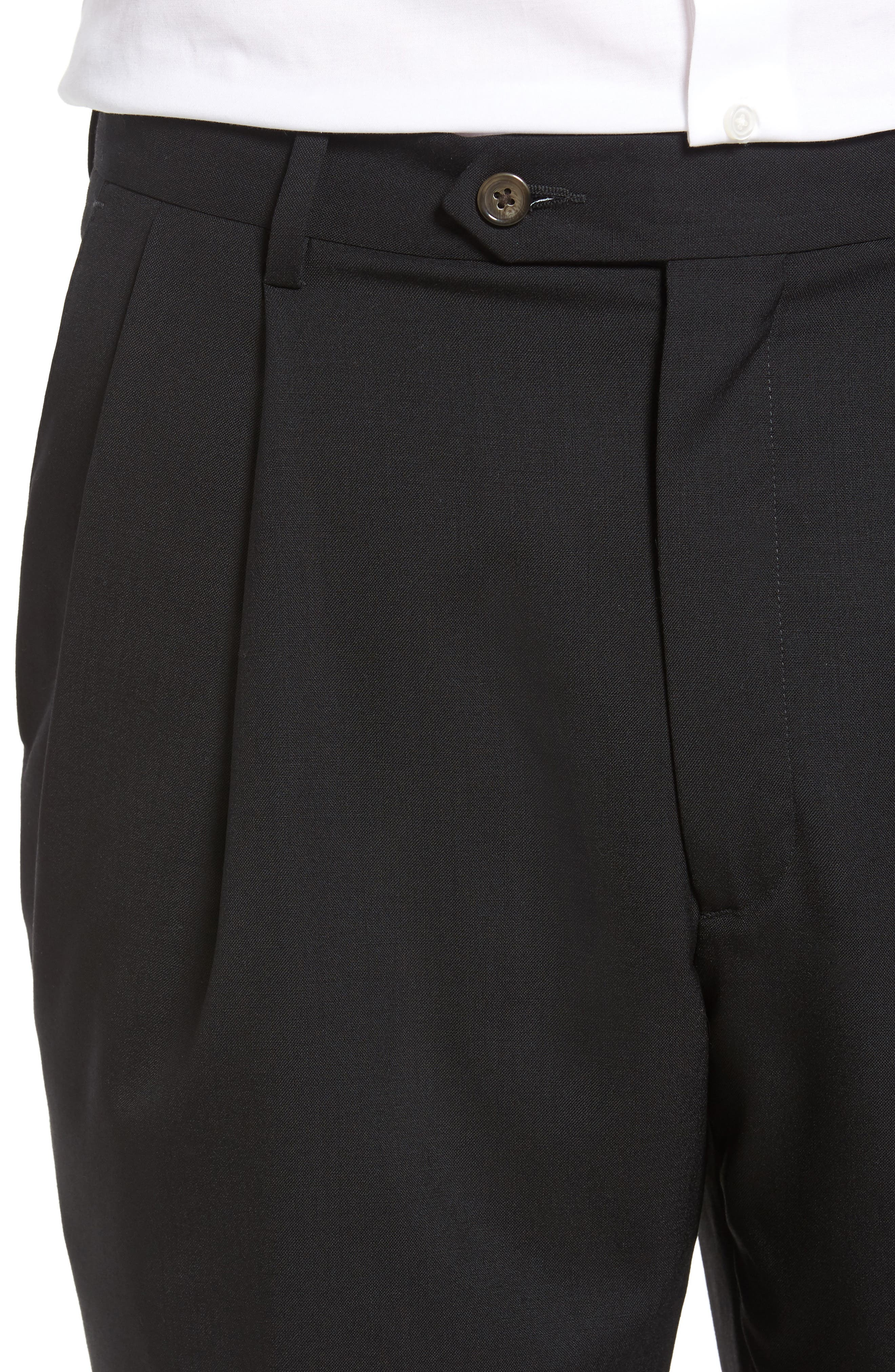 Pleated Solid Wool Trousers,                             Alternate thumbnail 5, color,                             001