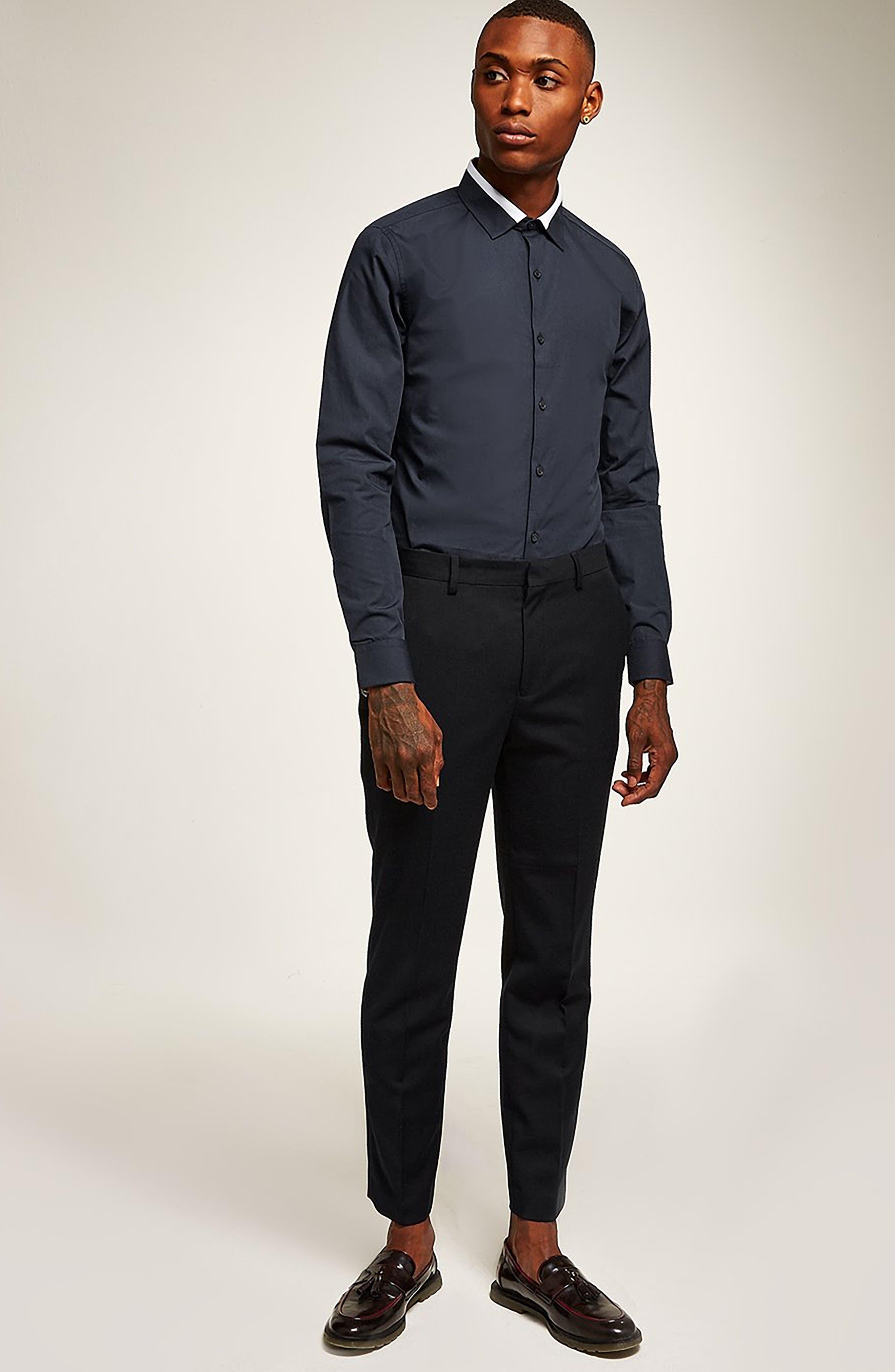 Slim Fit Panel Collar Shirt,                             Alternate thumbnail 5, color,                             411
