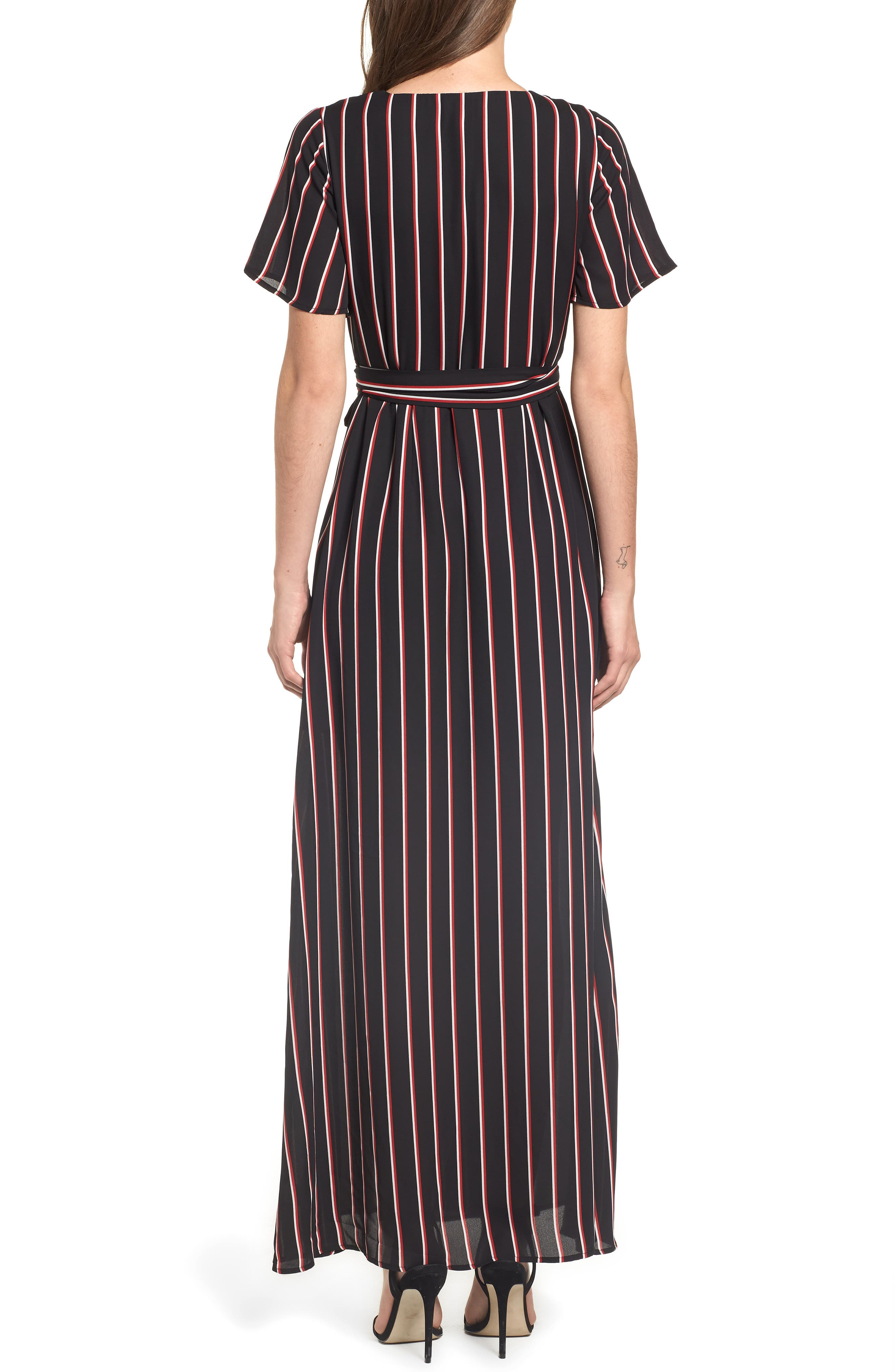 Wrap Maxi Dress,                             Alternate thumbnail 2, color,                             BLACK DOUBLE STRIPE