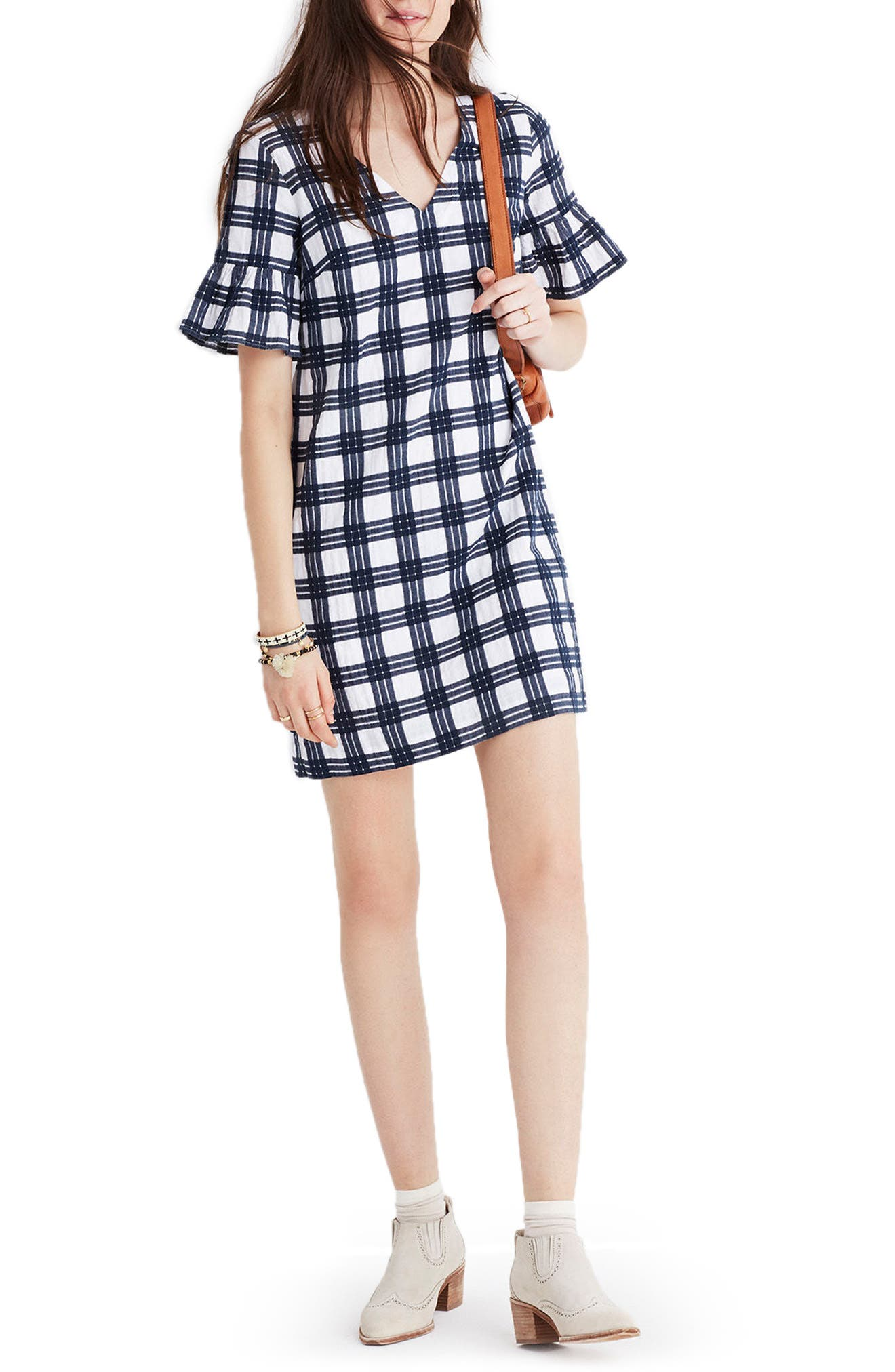 Leighton Plaid Bell Sleeve Dress,                             Main thumbnail 1, color,                             100