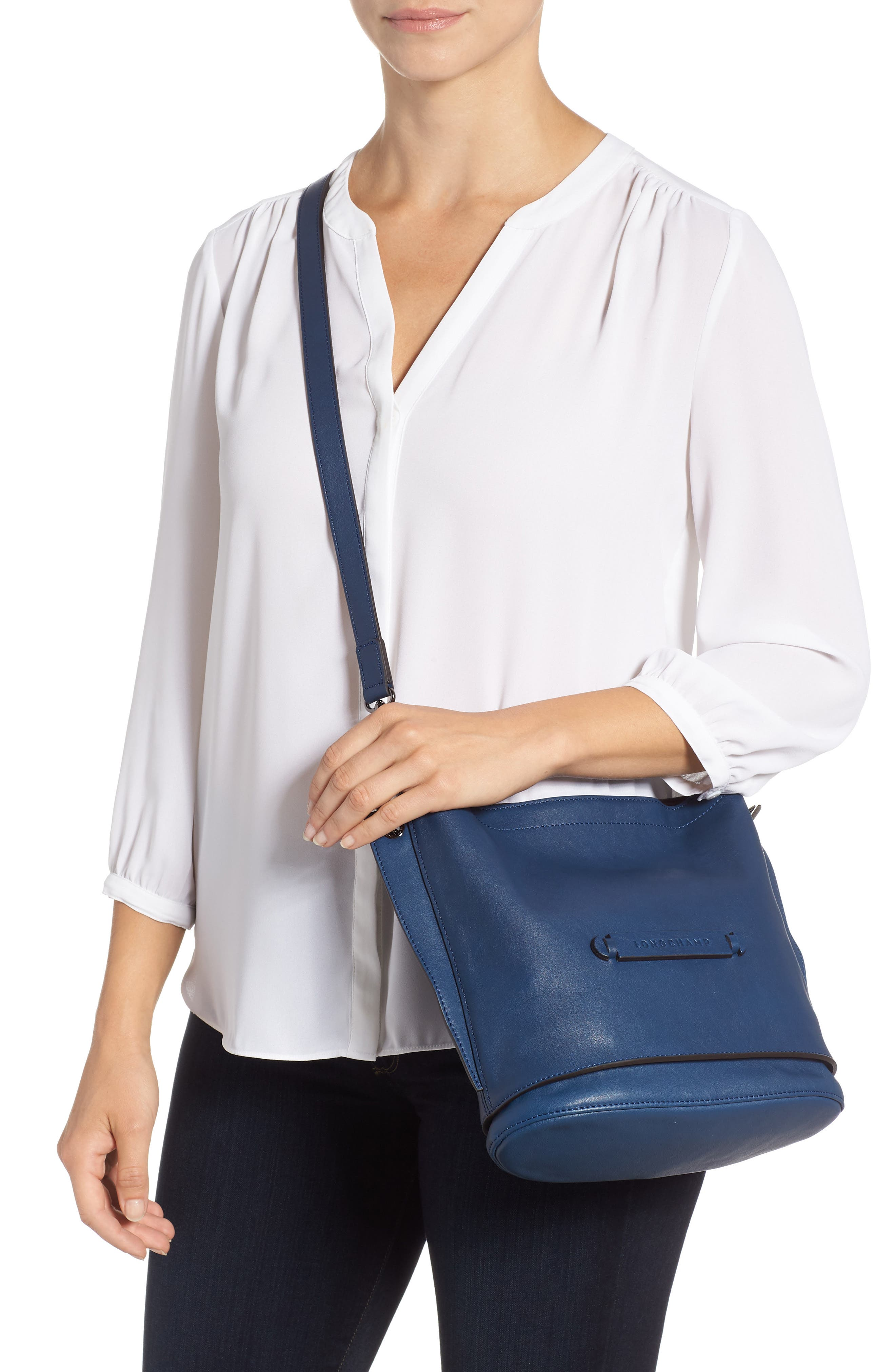 3D Leather Bucket Bag,                             Alternate thumbnail 2, color,                             PILOT BLUE