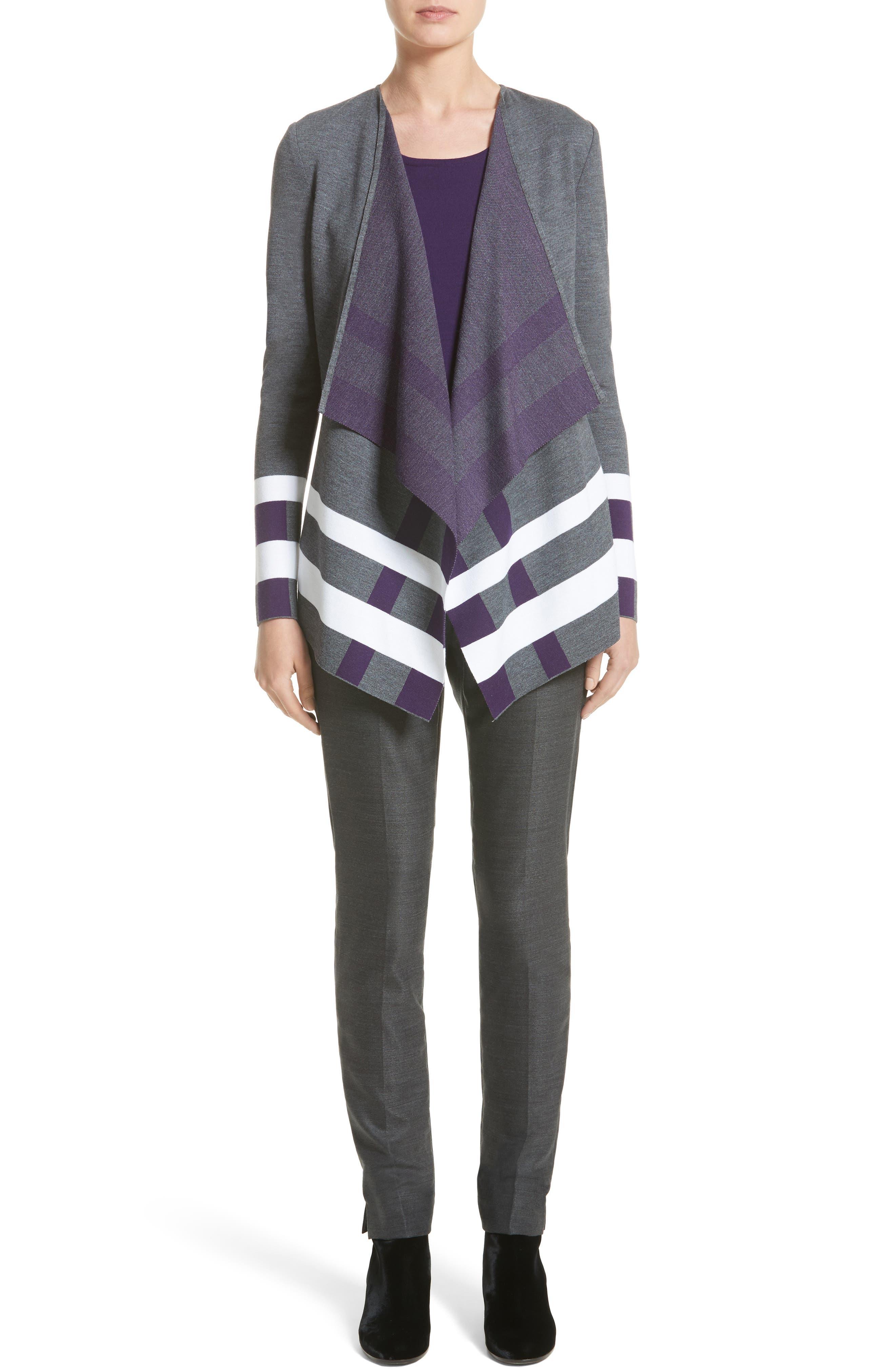 Milano Knit Jacquard Drape Front Jacket,                             Alternate thumbnail 6, color,                             030