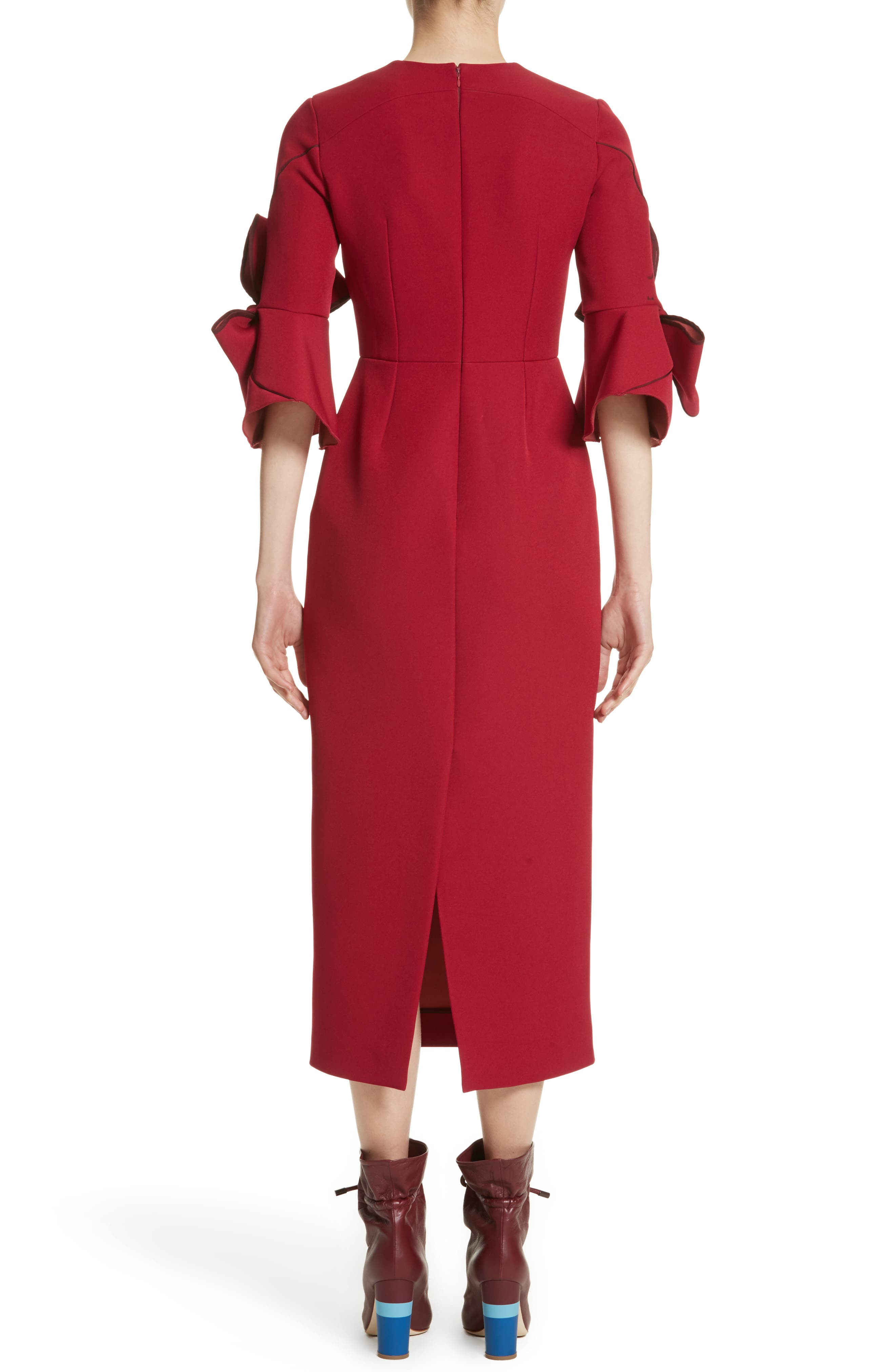 Lavete Bow Sleeve Crepe Dress,                             Alternate thumbnail 2, color,