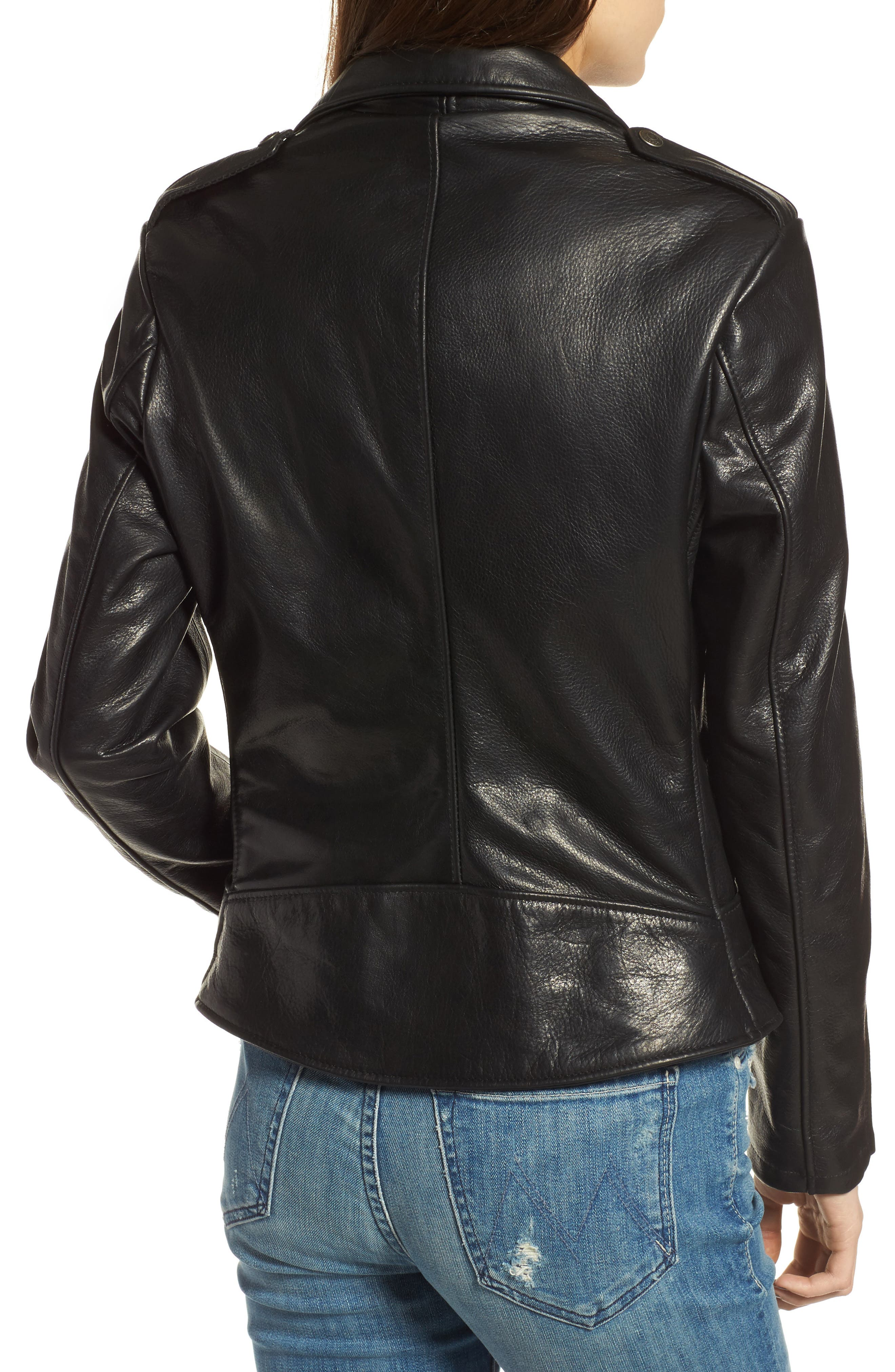 Lightweight Perfecto Leather Jacket,                             Alternate thumbnail 2, color,                             BLACK