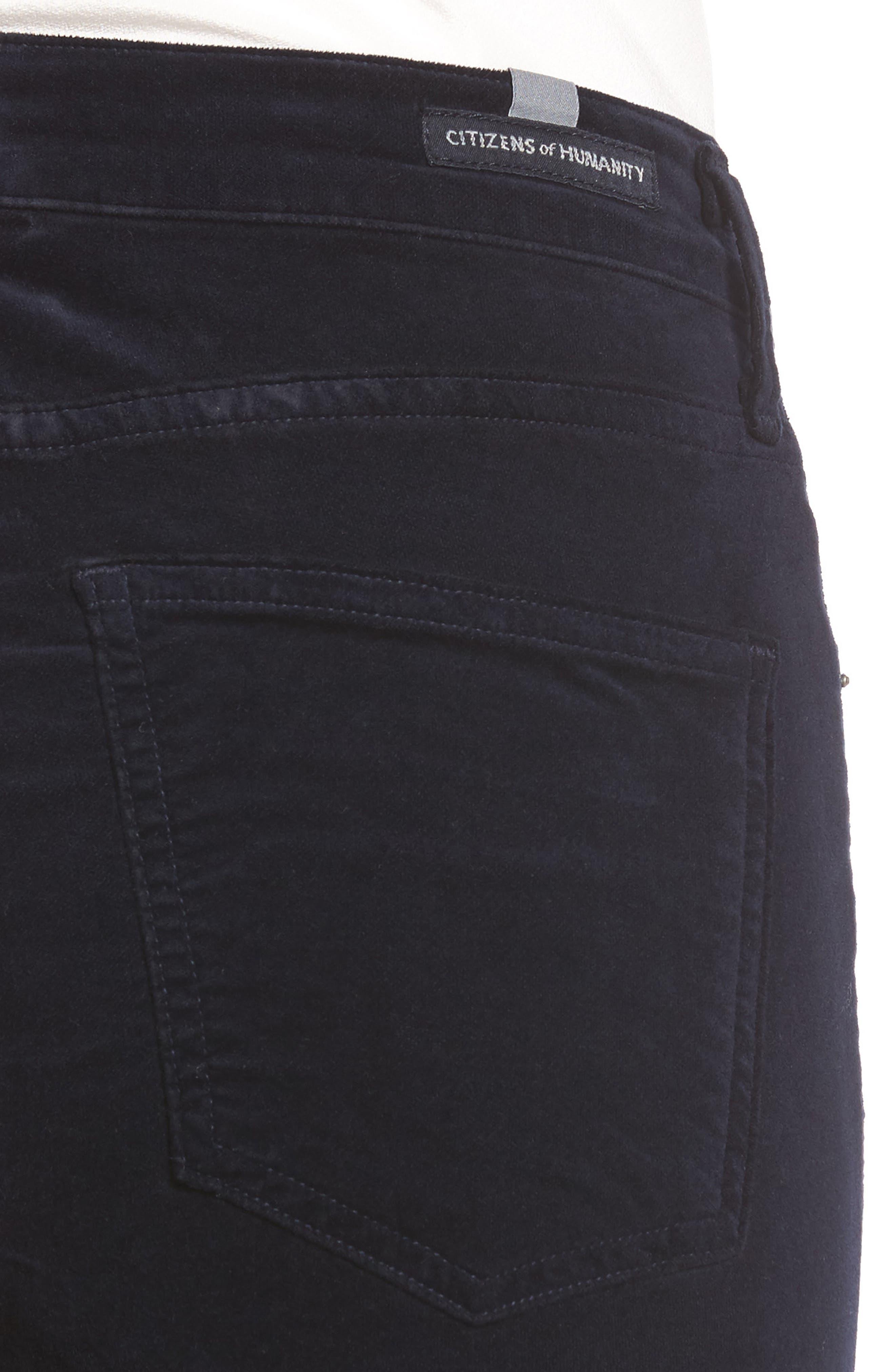 Rocket High Waist Velveteen Skinny Pants,                             Alternate thumbnail 4, color,                             418