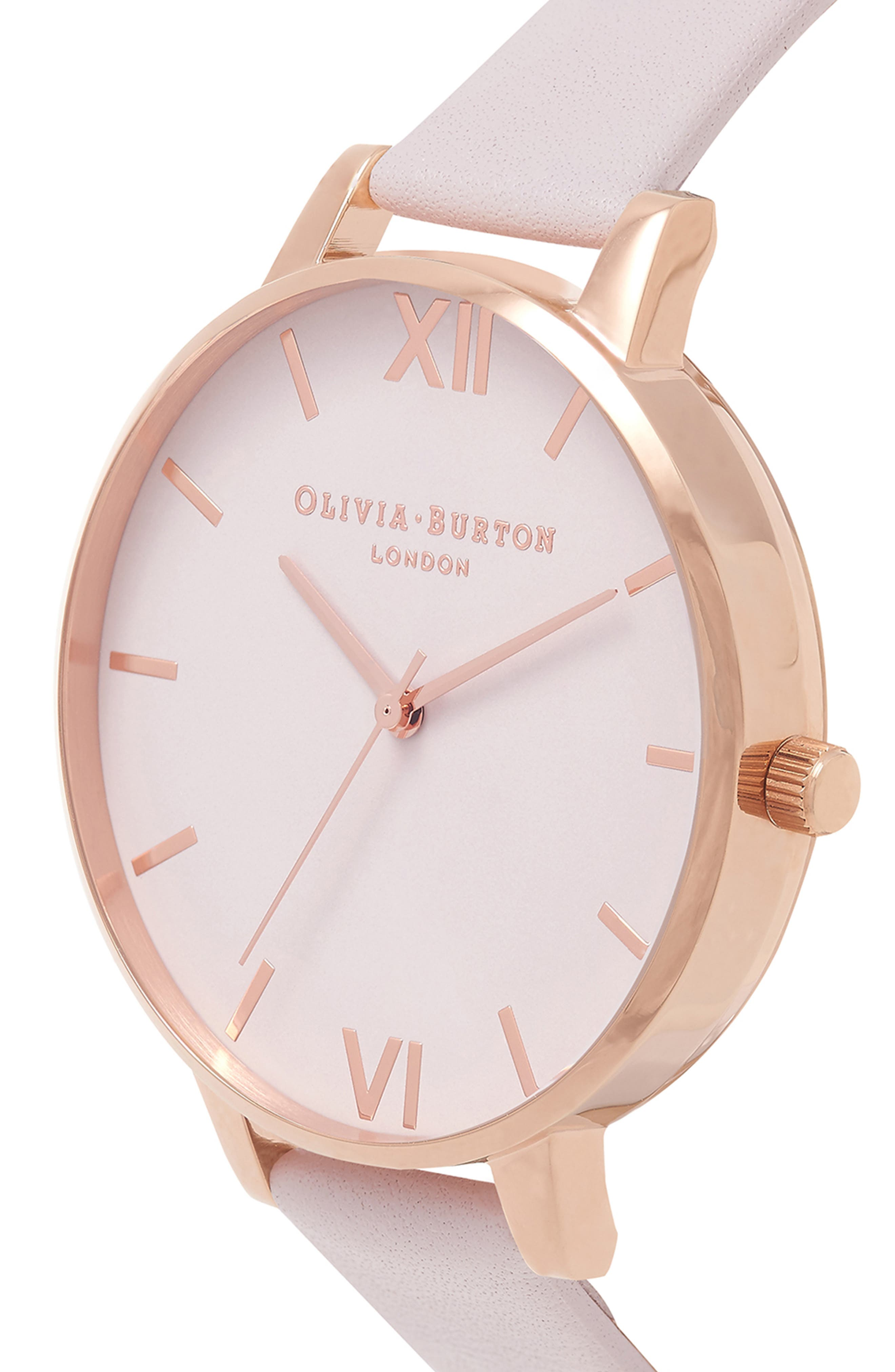 Begin to Blush Leather Strap Watch, 38mm,                             Alternate thumbnail 4, color,                             BLUSH/ ROSE GOLD