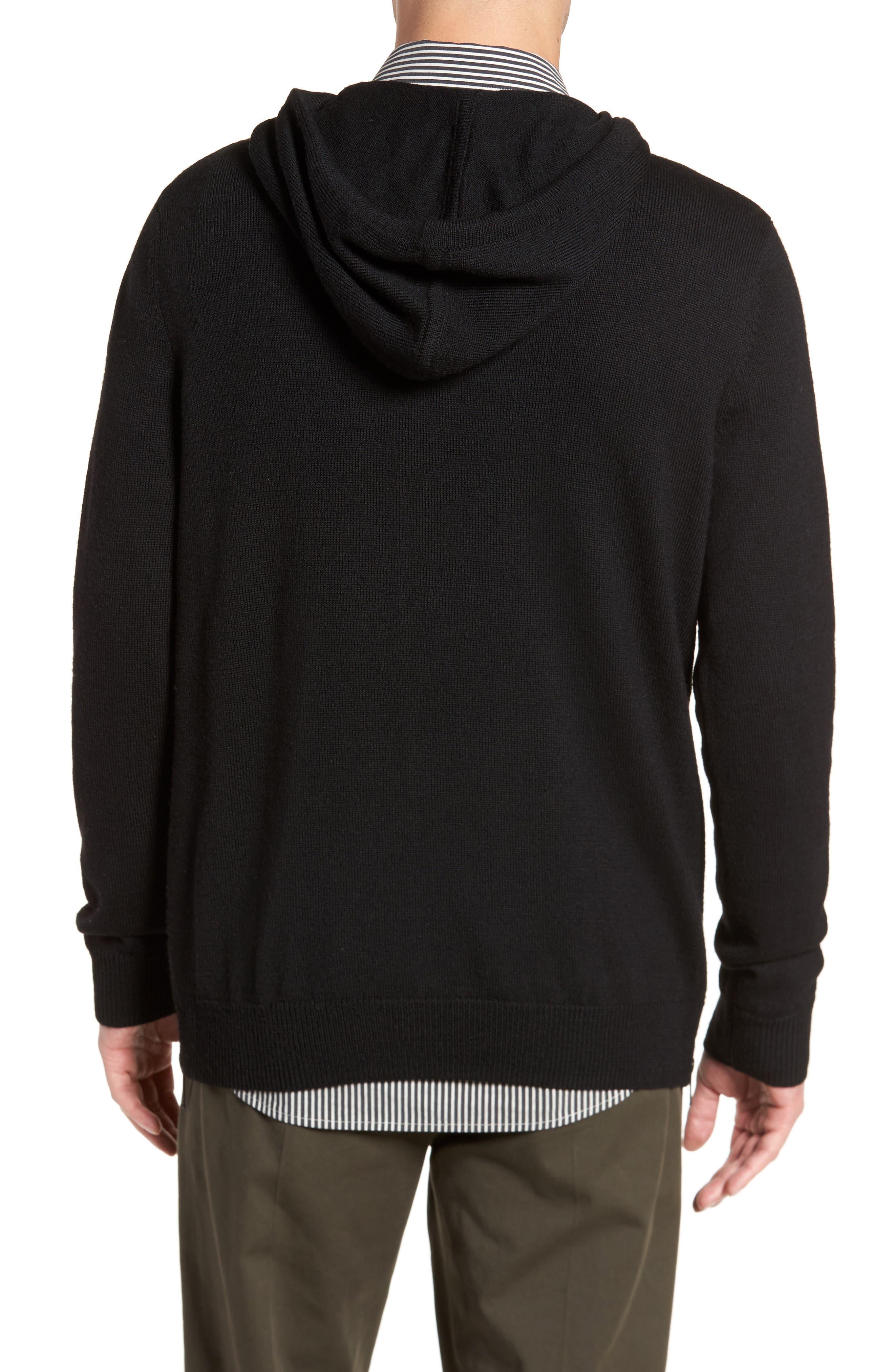 Regular Fit Merino Hooded Sweater,                             Alternate thumbnail 2, color,                             001