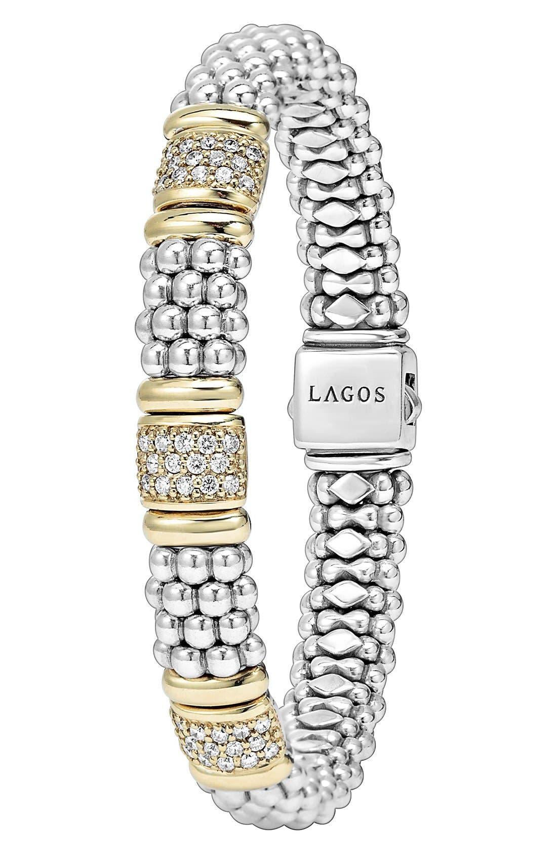'Caviar' Diamond Station Bracelet,                             Alternate thumbnail 6, color,                             SILVER/ GOLD