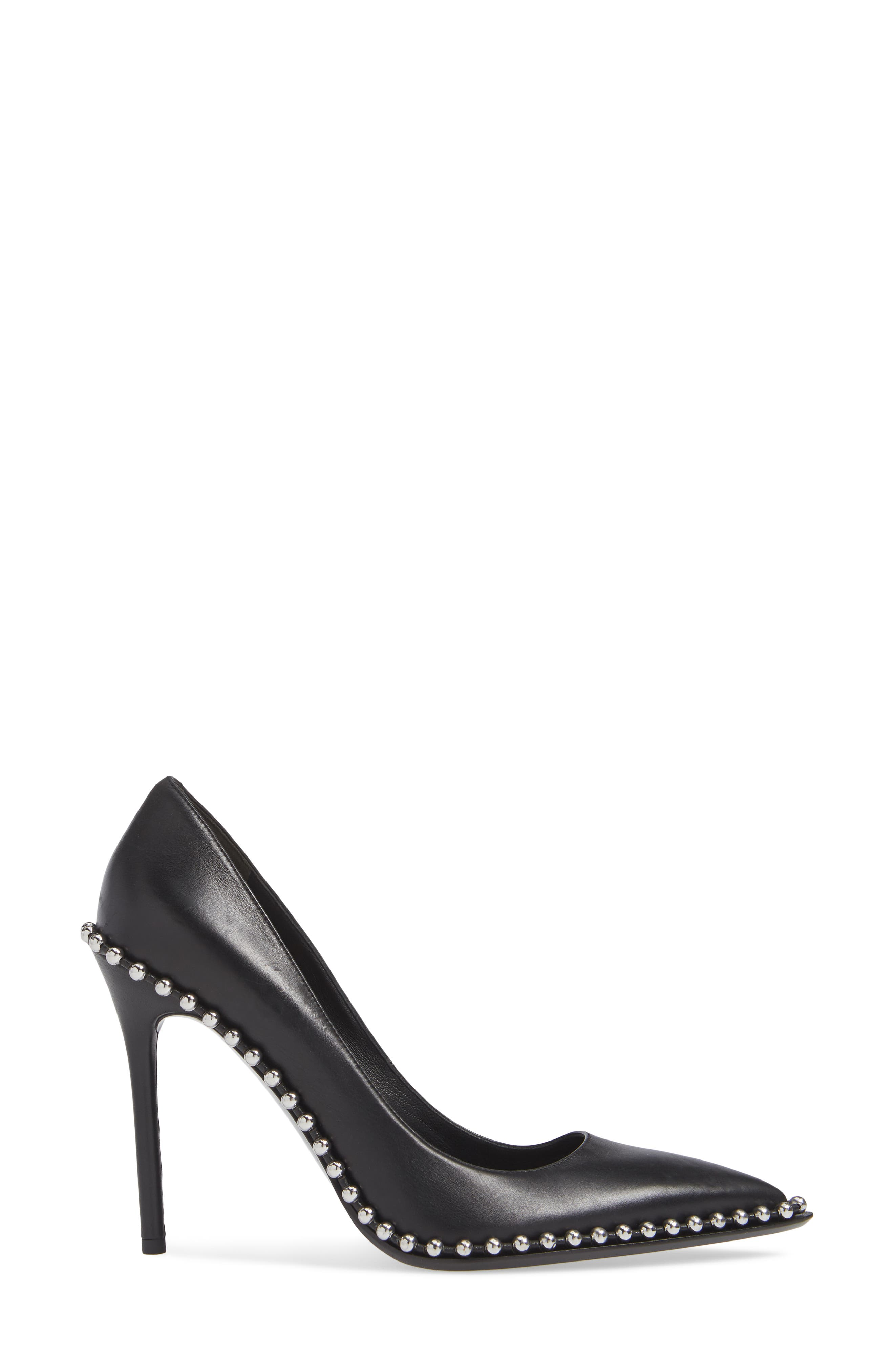 Rie Stud Pointy Toe Pump,                             Alternate thumbnail 3, color,                             BLACK