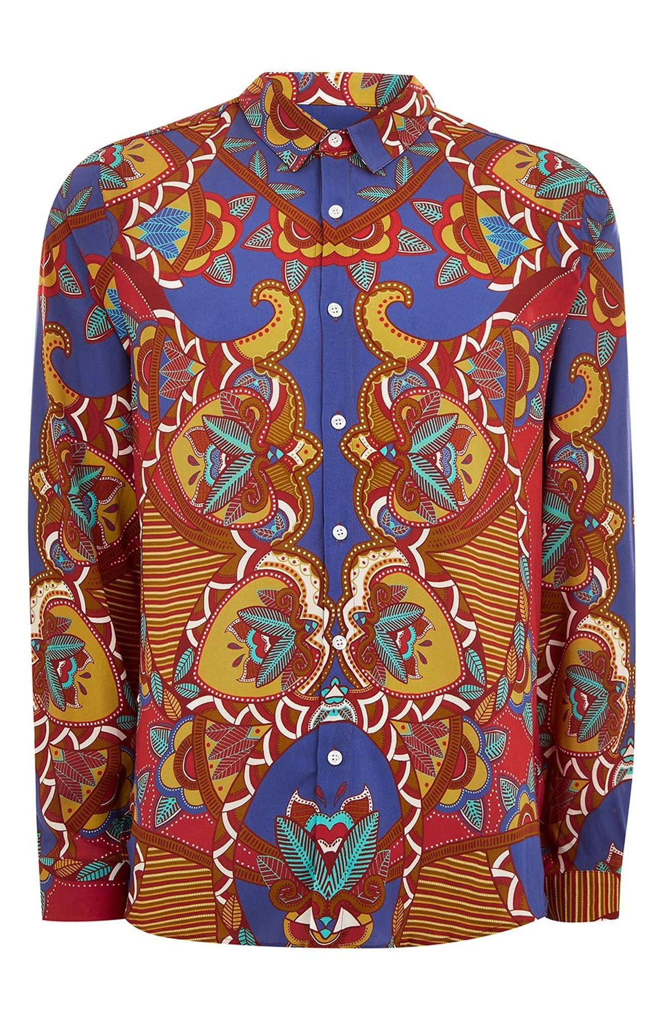 African Baroque Classic Fit Shirt,                             Alternate thumbnail 4, color,                             BLUE MULTI