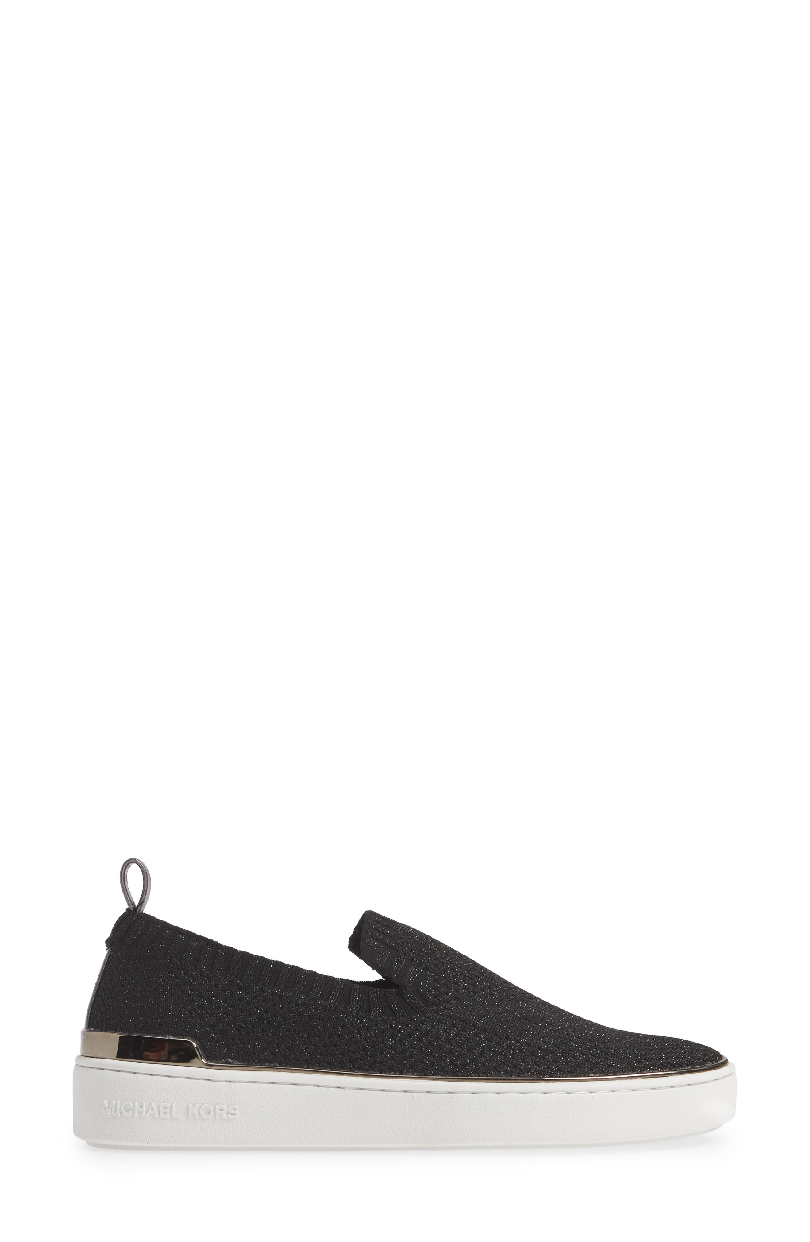 MICHAEL MICHAEL KORS,                             Skyler Sneaker,                             Alternate thumbnail 3, color,                             GUNMETAL FABRIC