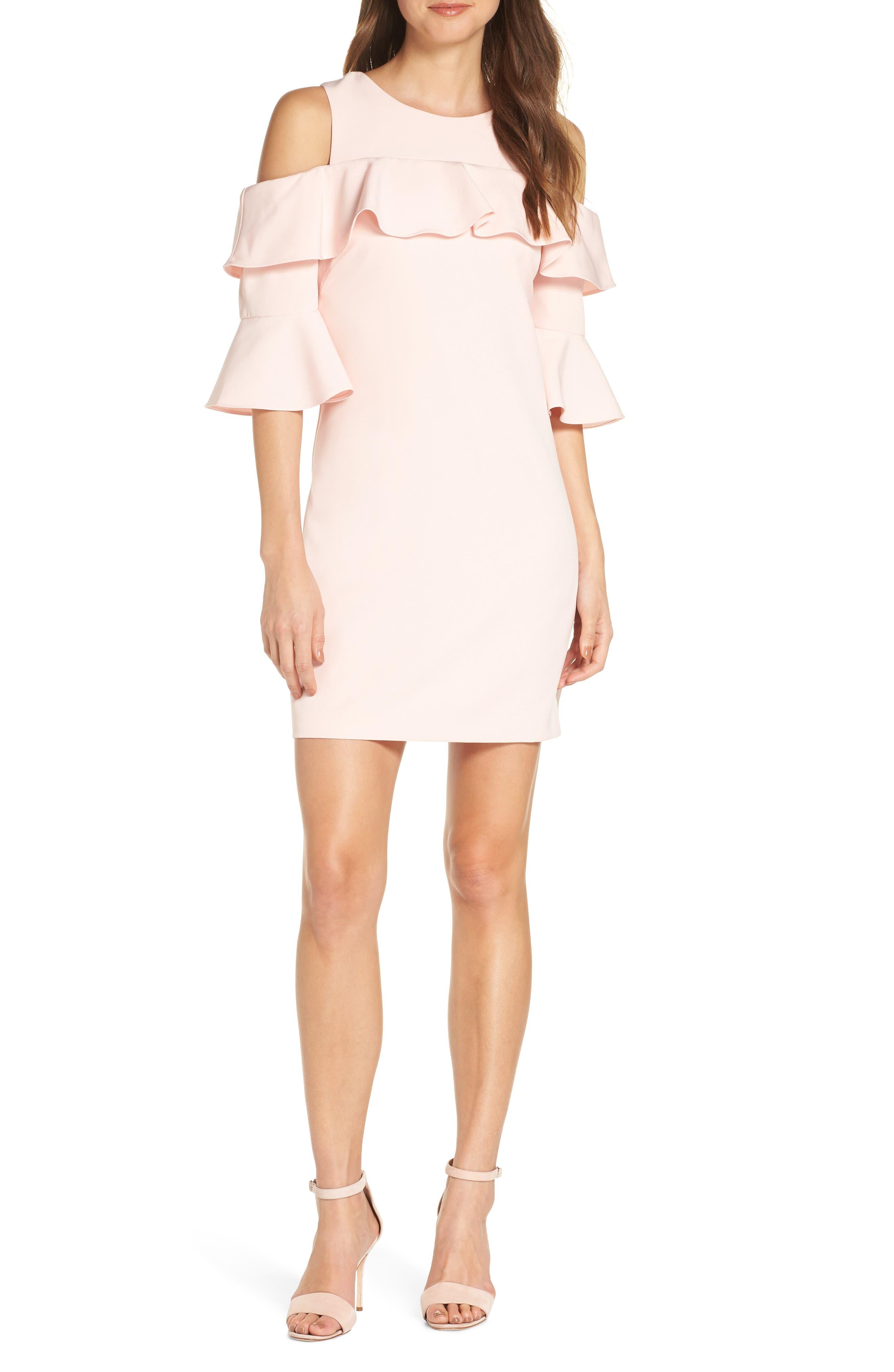 Eliza J Ruffle Cold Shoulder Shift Dress, Pink