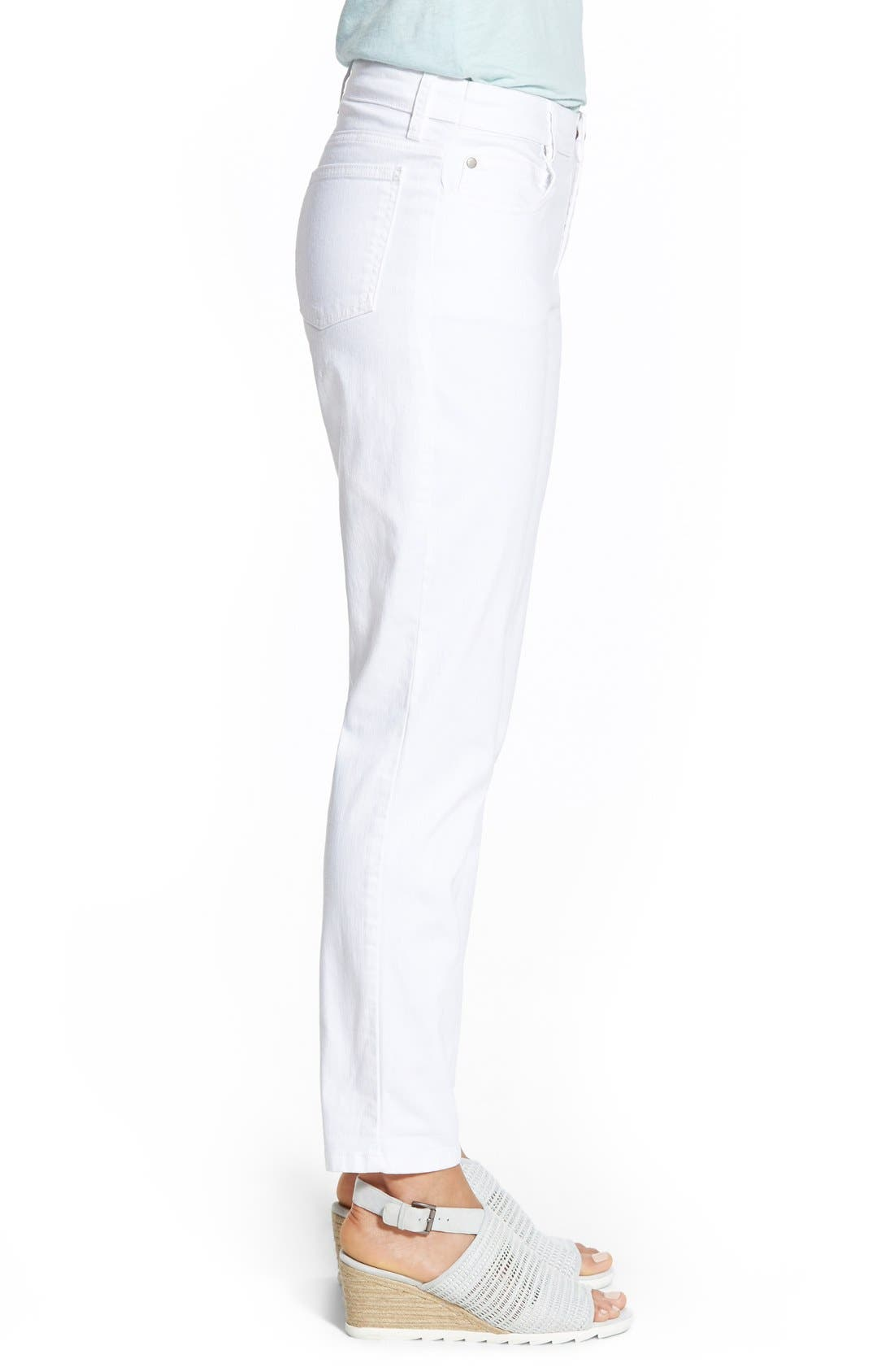 Garment Dyed Stretch Ankle Skinny Jeans,                             Alternate thumbnail 5, color,                             WHITE
