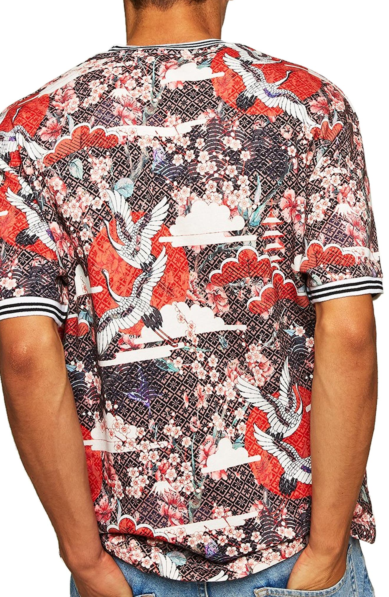 Japanese Tile Print Short Sleeve Sweatshirt,                             Alternate thumbnail 2, color,                             600