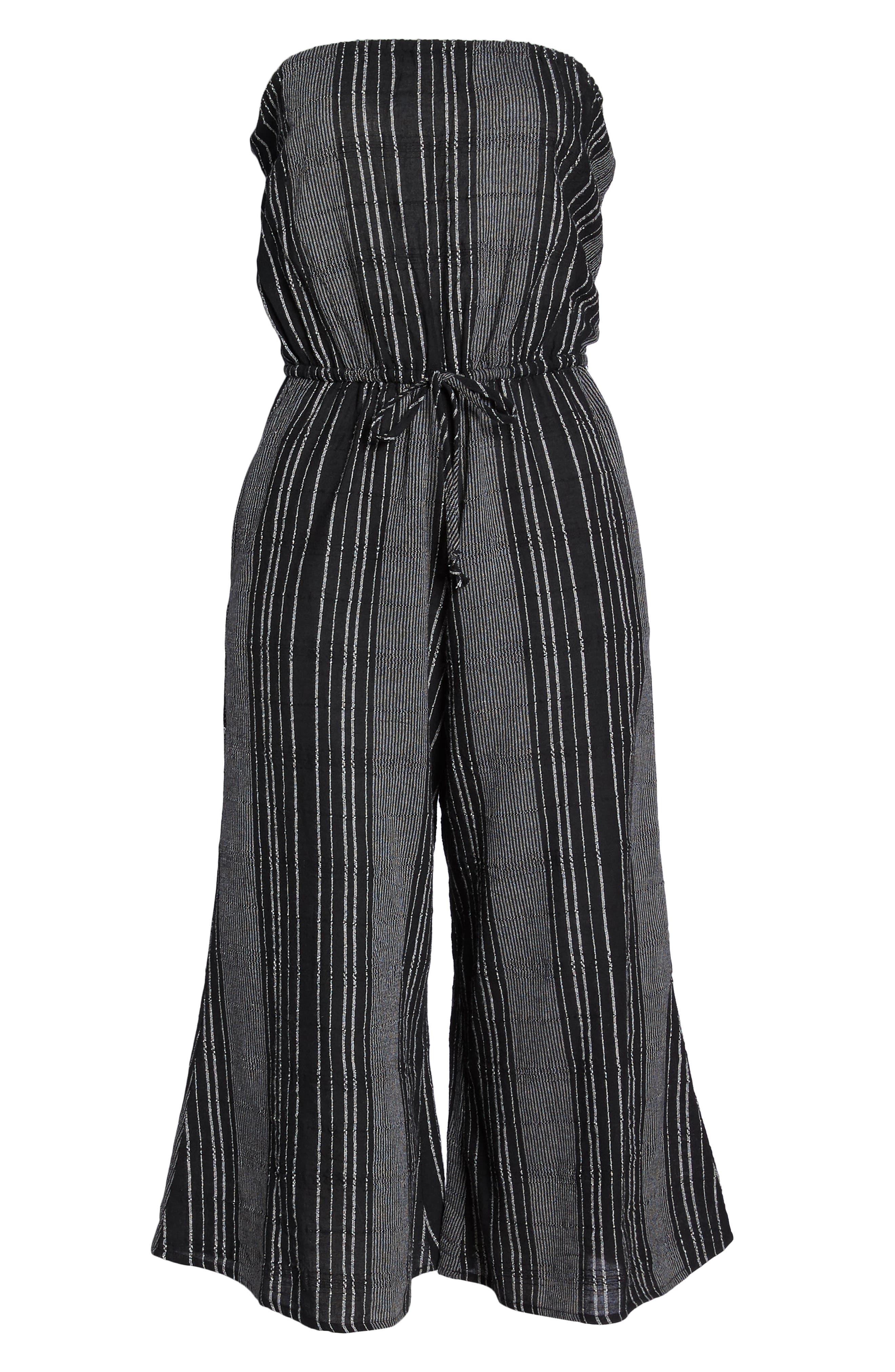Strapless Cover-Up Culotte Jumpsuit,                             Alternate thumbnail 6, color,                             BLACK/ WHITE STRIPE